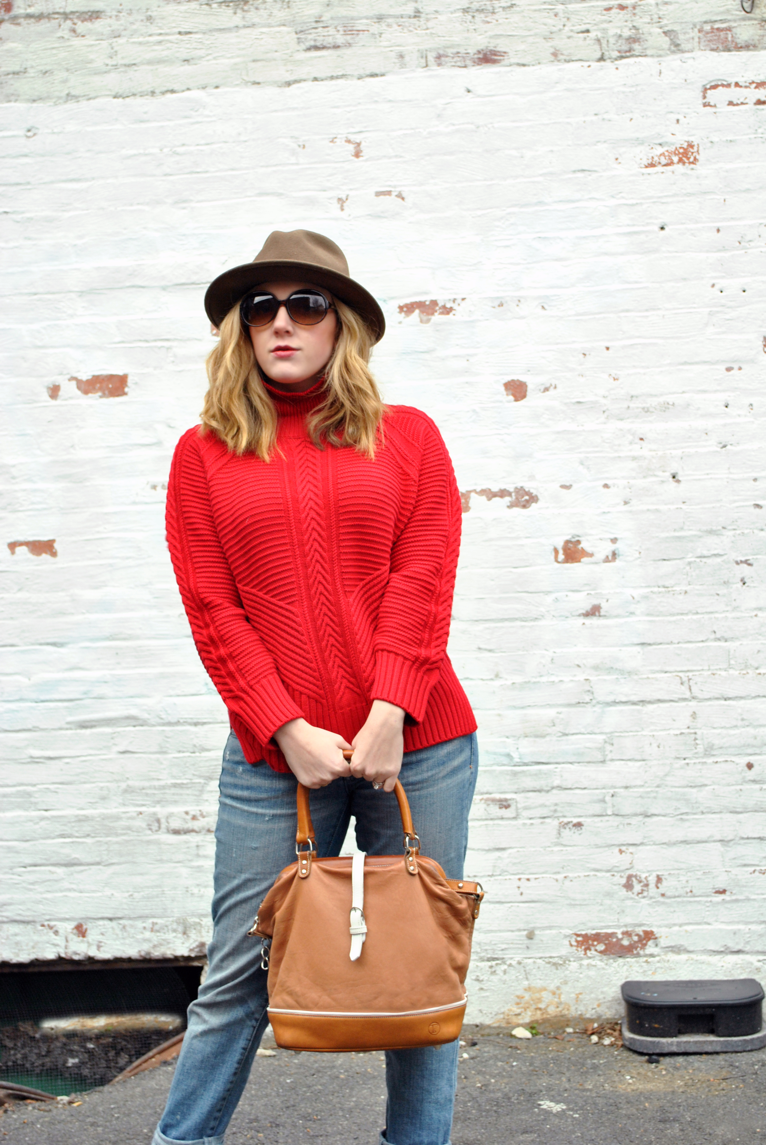 Crimson Red sweater and boyfriend jeans