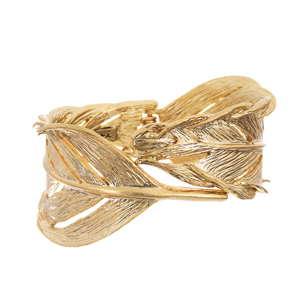 Sculpted Feather Hinged Cuff    $68