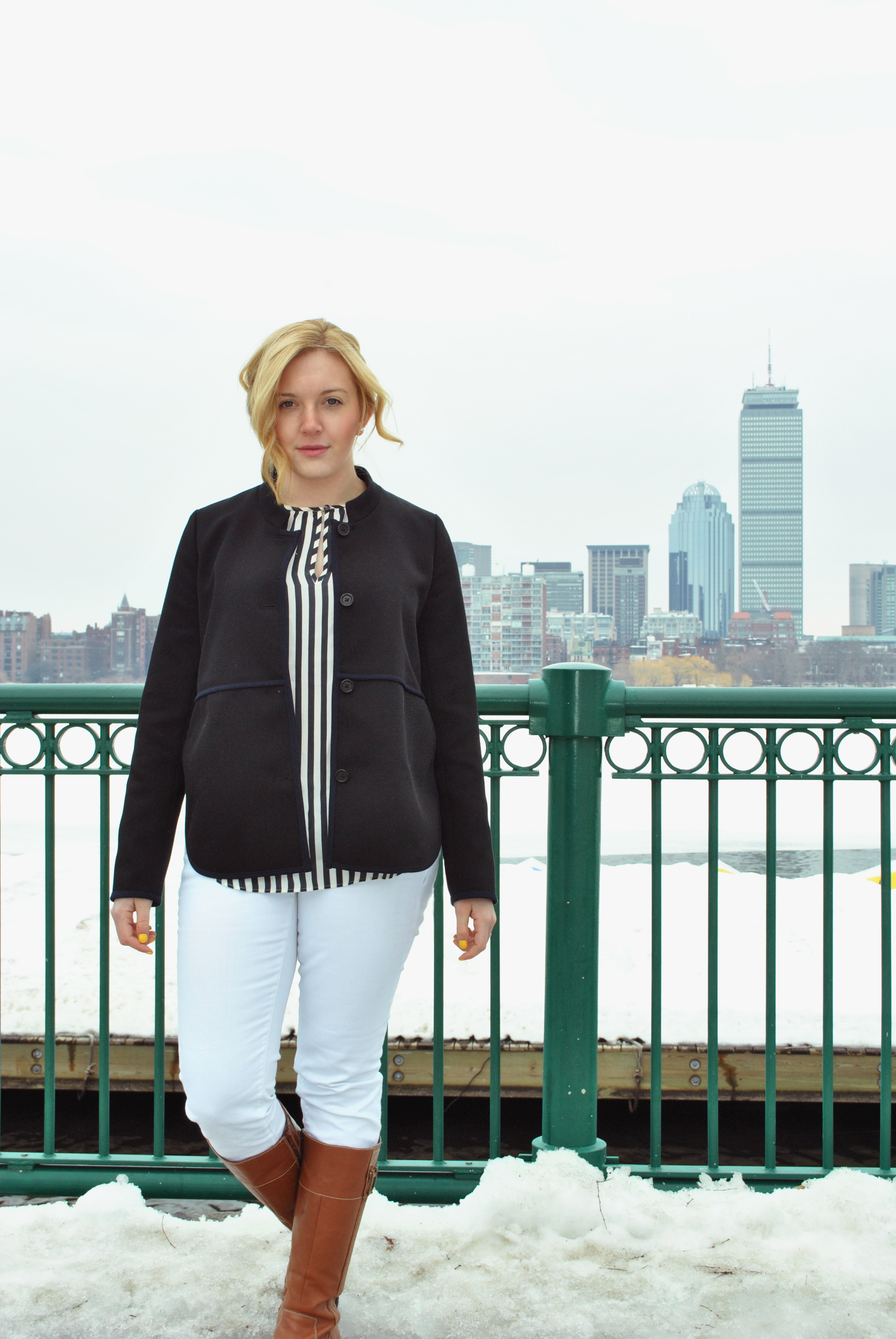 Navy Stripes and a Navy j.crew jacket | thoughtfulwish
