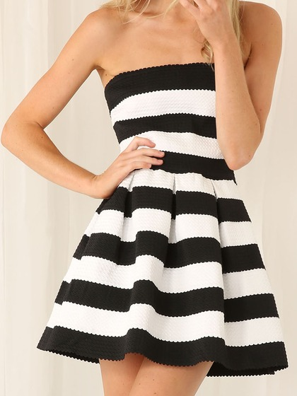 Monochrome Strapless Dress $29.90