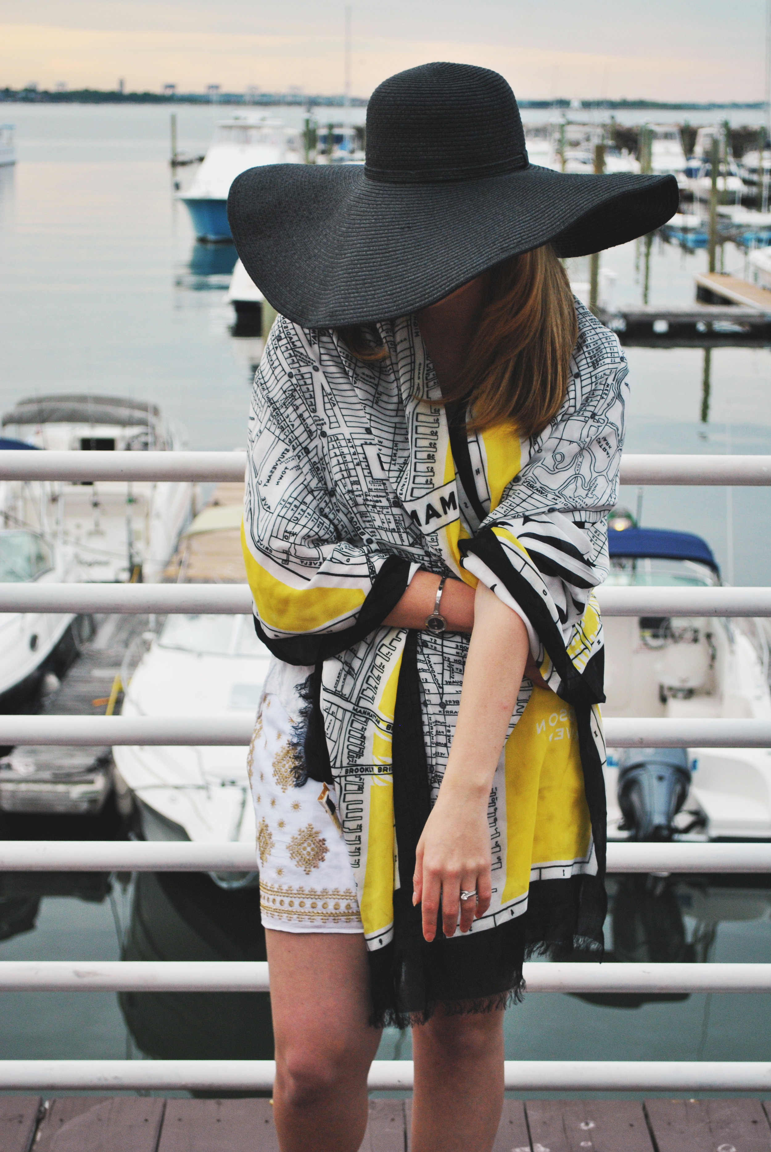 sailing outfit // summer outfit // white shorts outfit // j.crew // bloomingdale's // kate spade // big hat // thoughtfulwish