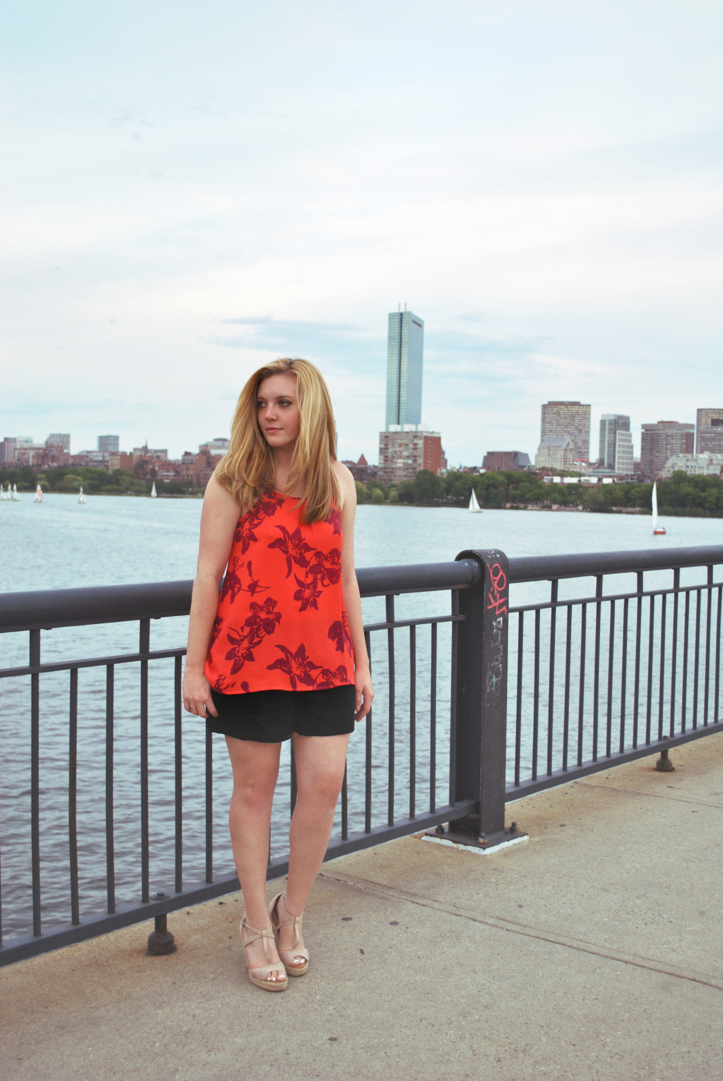 floral // silk // jcrew // banana republic // boston // charles river // vest // summer work outfit // wedges // shorts work outfit // thoughtfulwish