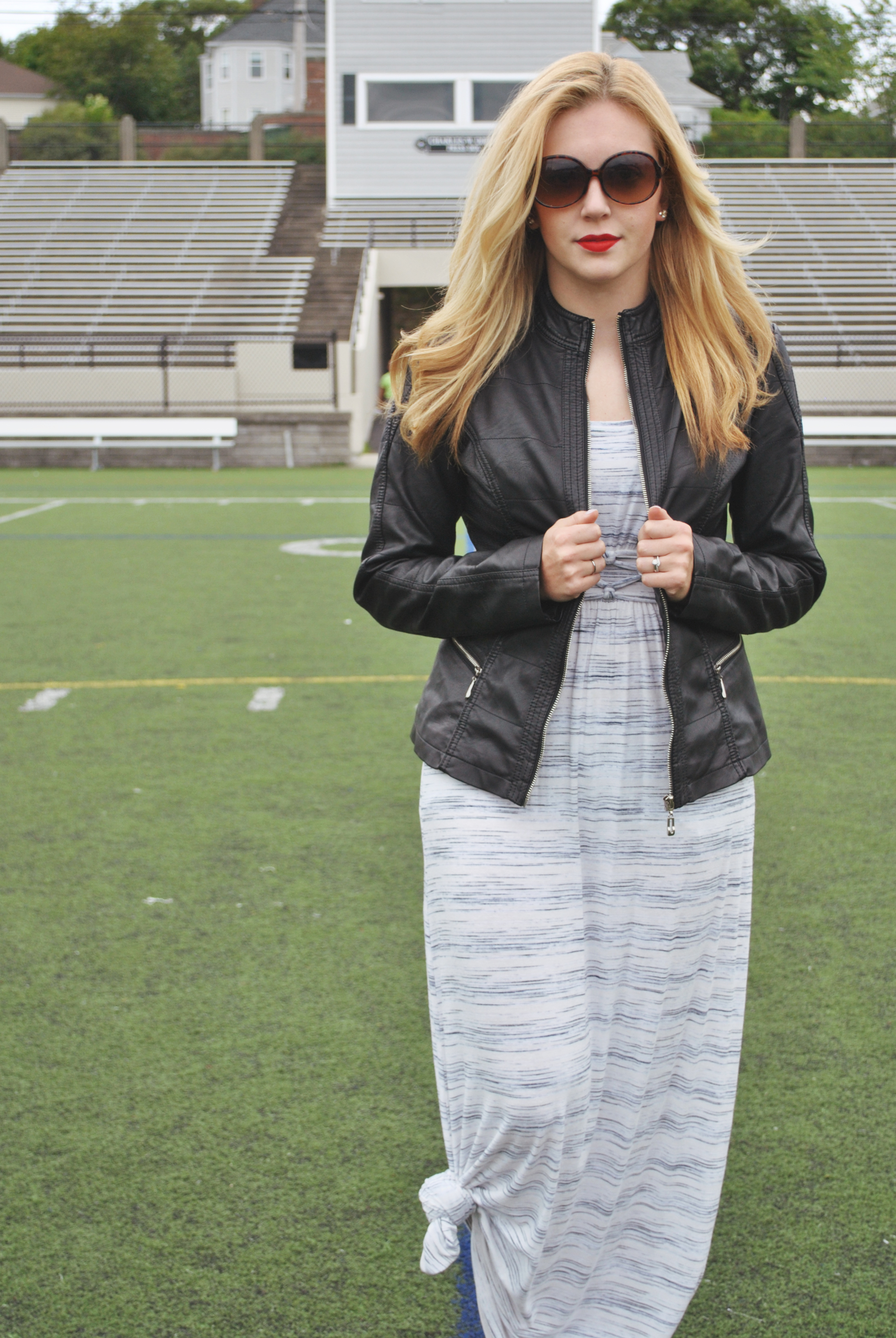 thoughtfulwish | leather jacket // maxi dress outfit // fall outfit // back to school outfit // fashion // red lips // stila // leather jacket with dress