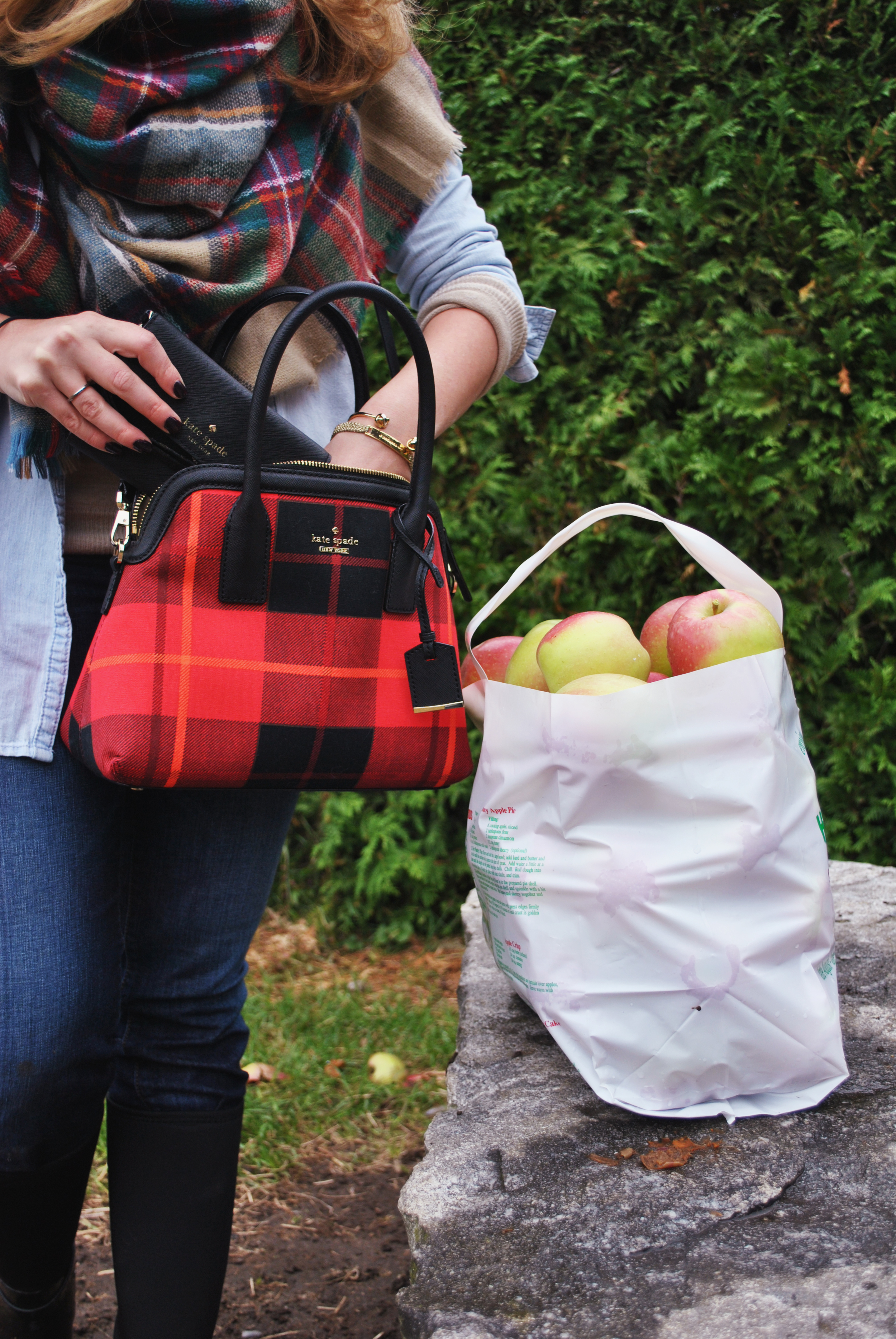 thoughtfulwish | preppy outfit // fall outfit // apple picking outfit // fall fashion // plaid scarf // plaid bag // rain boots // kate spade // muse //