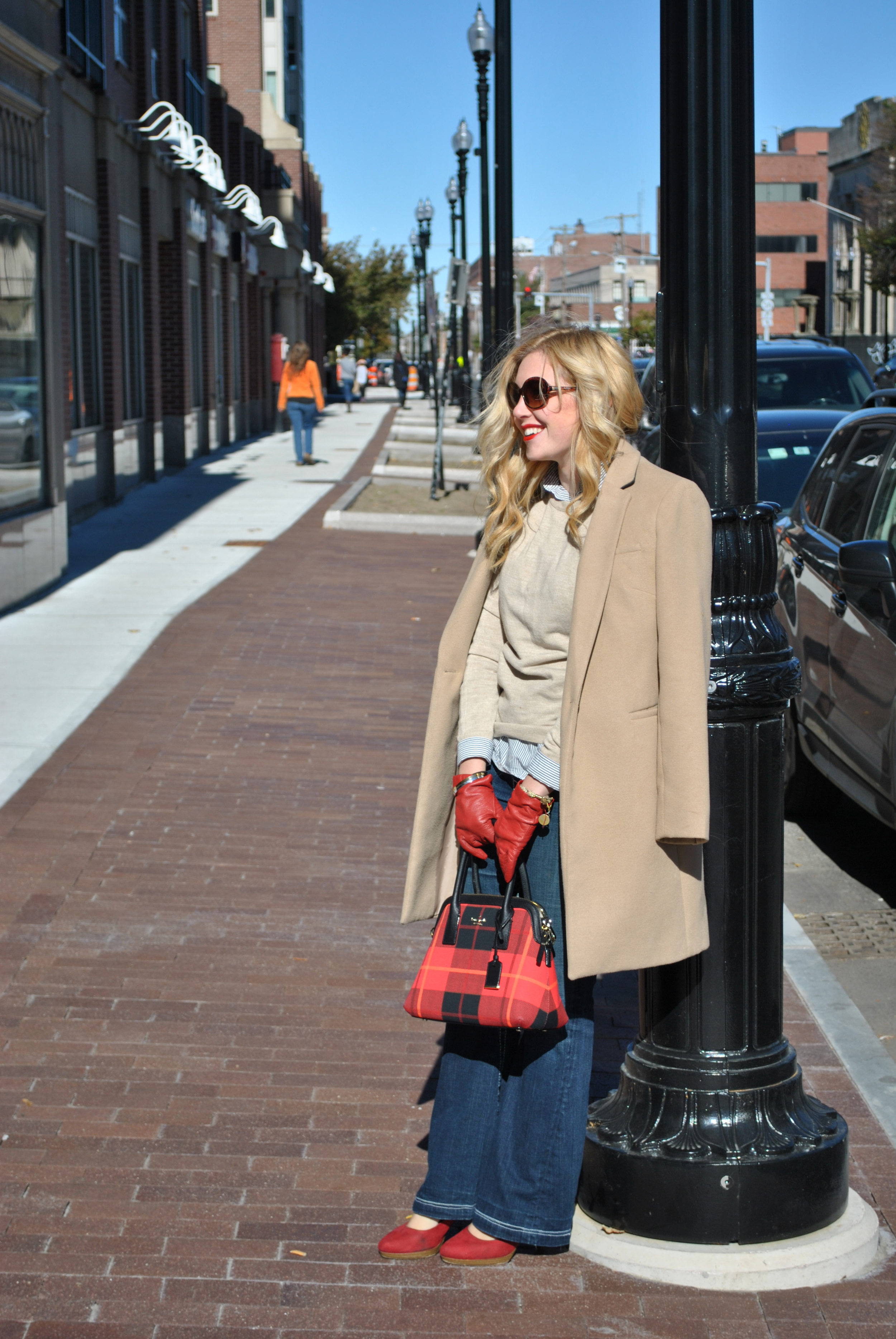 thoughtfulwish | preppy style // camel sweater // camel coat // red lips // fall outfit // street style // red heels // kate spade // j.crew