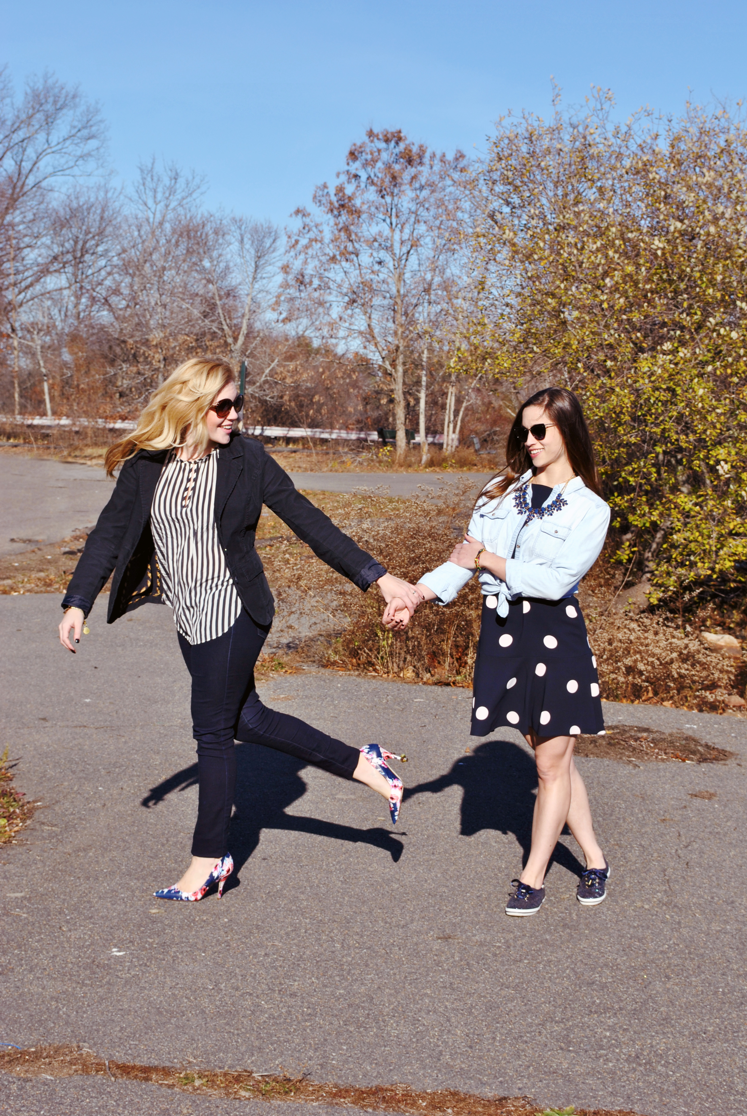 thoughtfulwish | dress for success // navy // kate spade / polka dots / shopstyle / best friends // best friend fashion // fashion // new england // boston fashion // preppy outfit // interview outfit