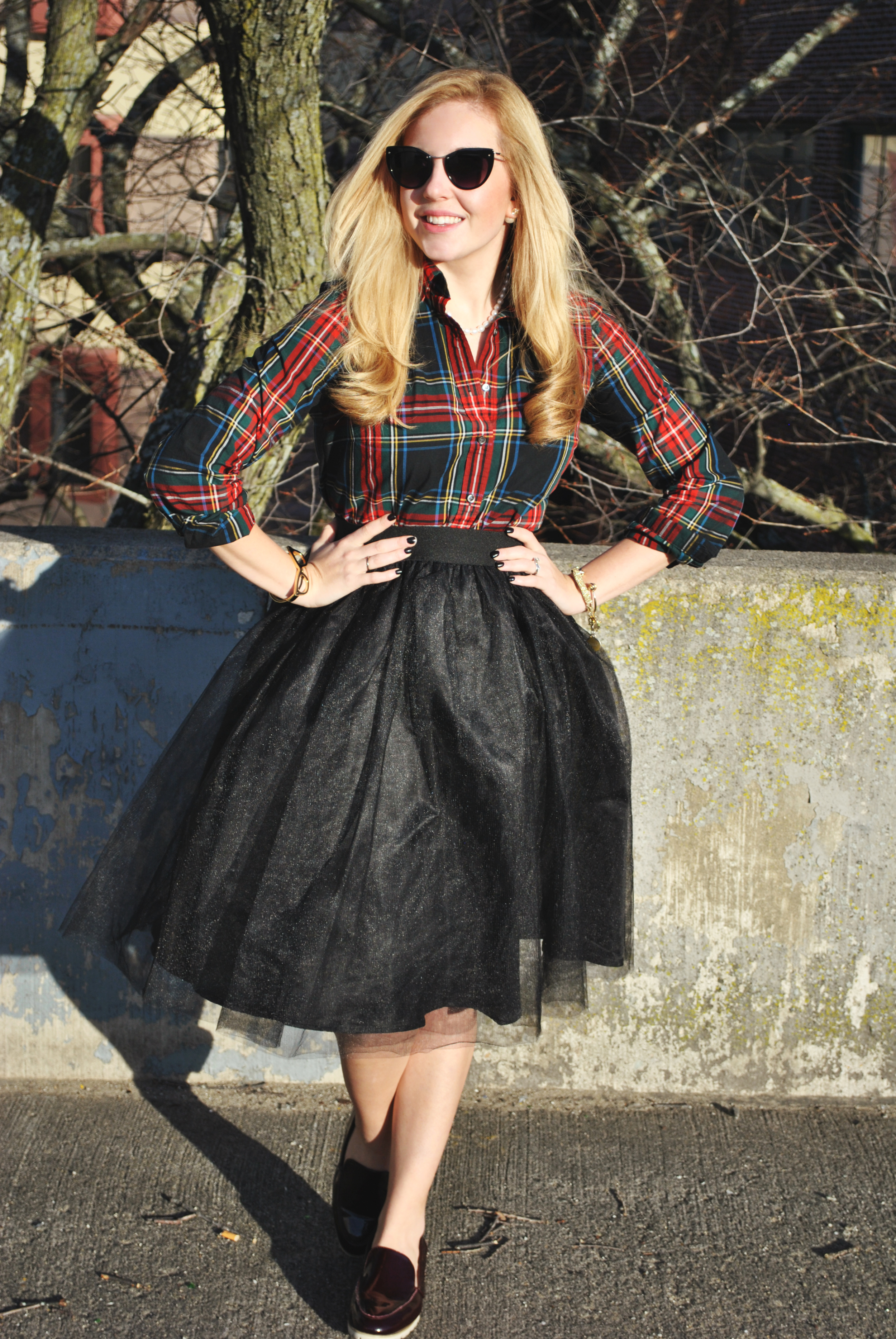 thoughtfulwish | plaid outfit // pearls // tulle skirt // preppy outfit // holiday outfit // kate spade // j.crew