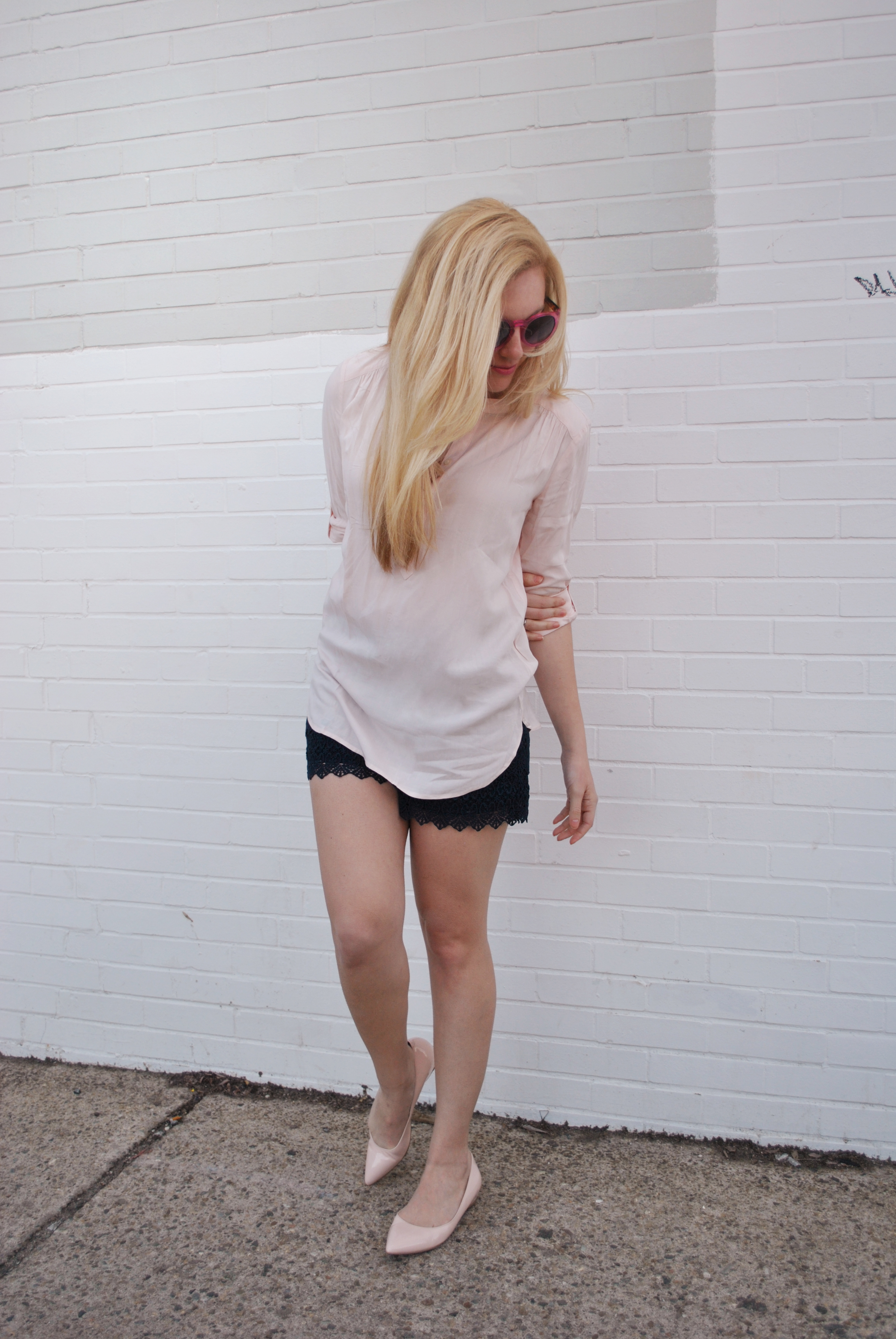 thoughtfulwish | ootd // fashion blogger // silk top // summer top // crochet shorts // the loft // boston blogger // preppy outfit // meredith wish