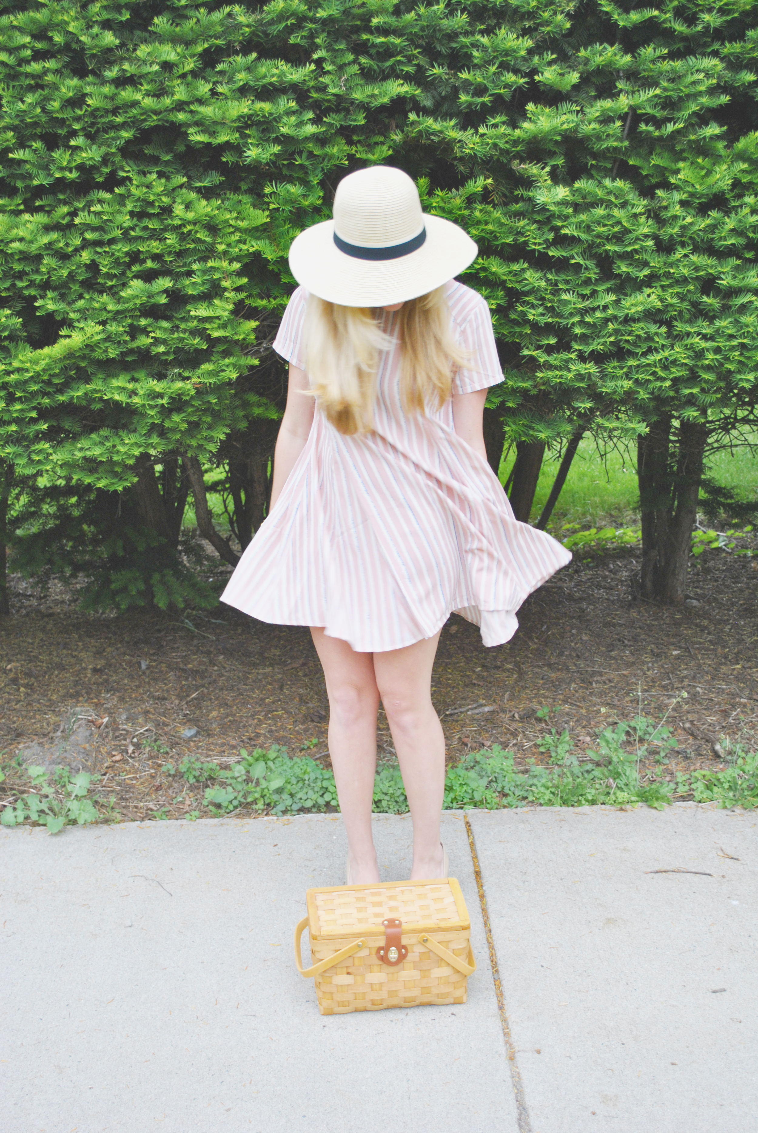 thoughtfulwish | ootd // fashion blog // fashion blogger // boston // preppy // straw hat // summer outfit // picnic outfit // swing dress // lush // meredith wish