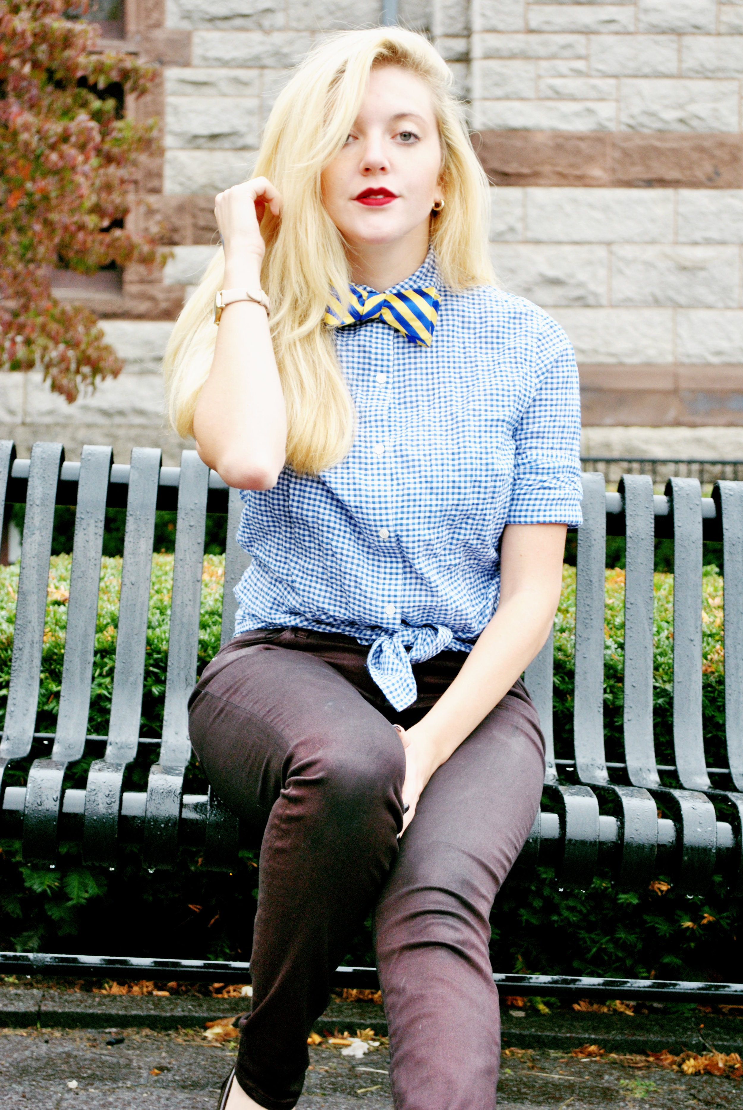 thoughtfulwish | oootie // boston strong // boston fashion // new england fashion // preppy // gingham // j.mclaughlin // bow tie // bowtie // fall outfit // meredith wish