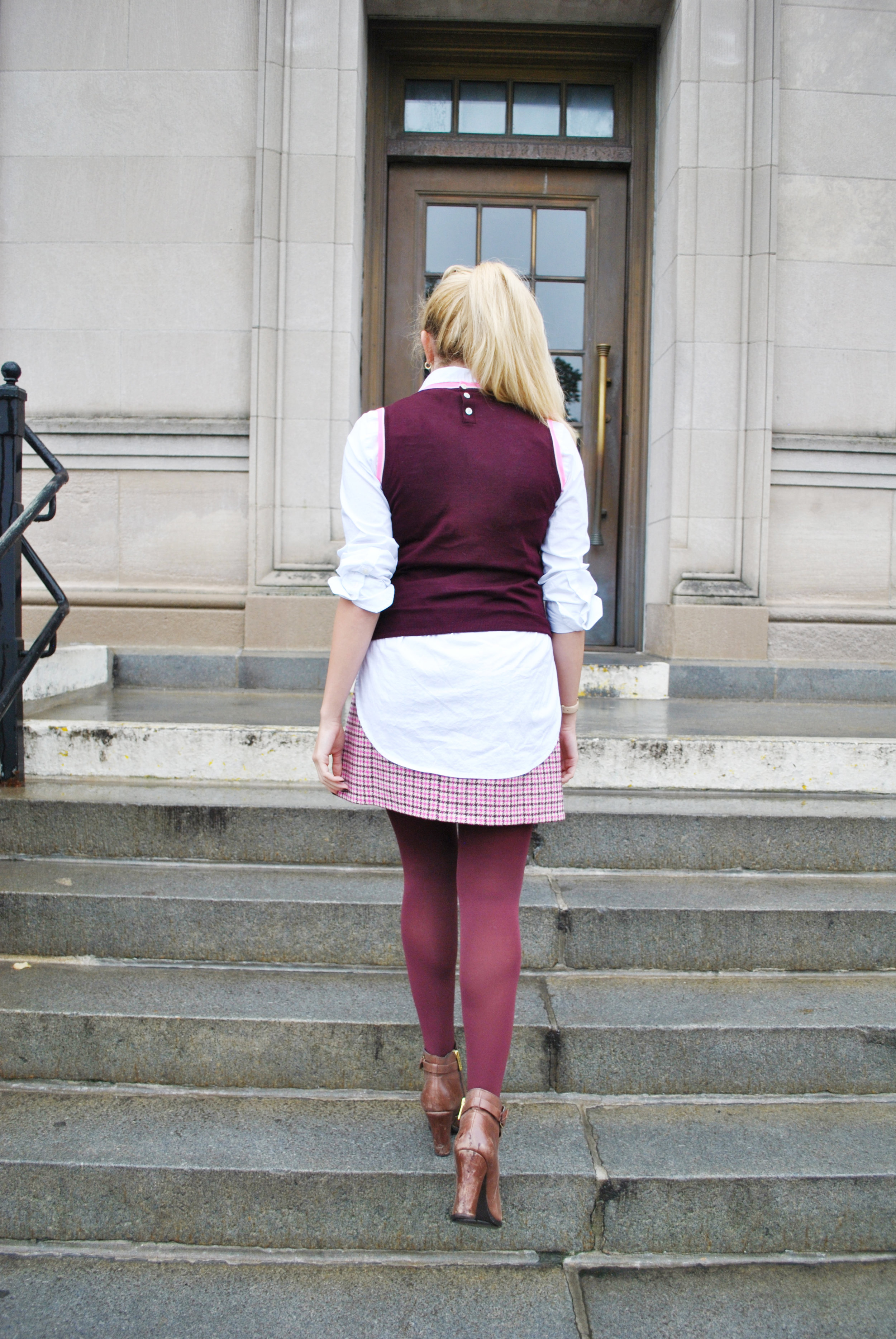 thoughtfulwish | preppy // layers // j.crew // boston // new england fashion // fall outfit // cher // clueless // maroon // plaid // meredith wish