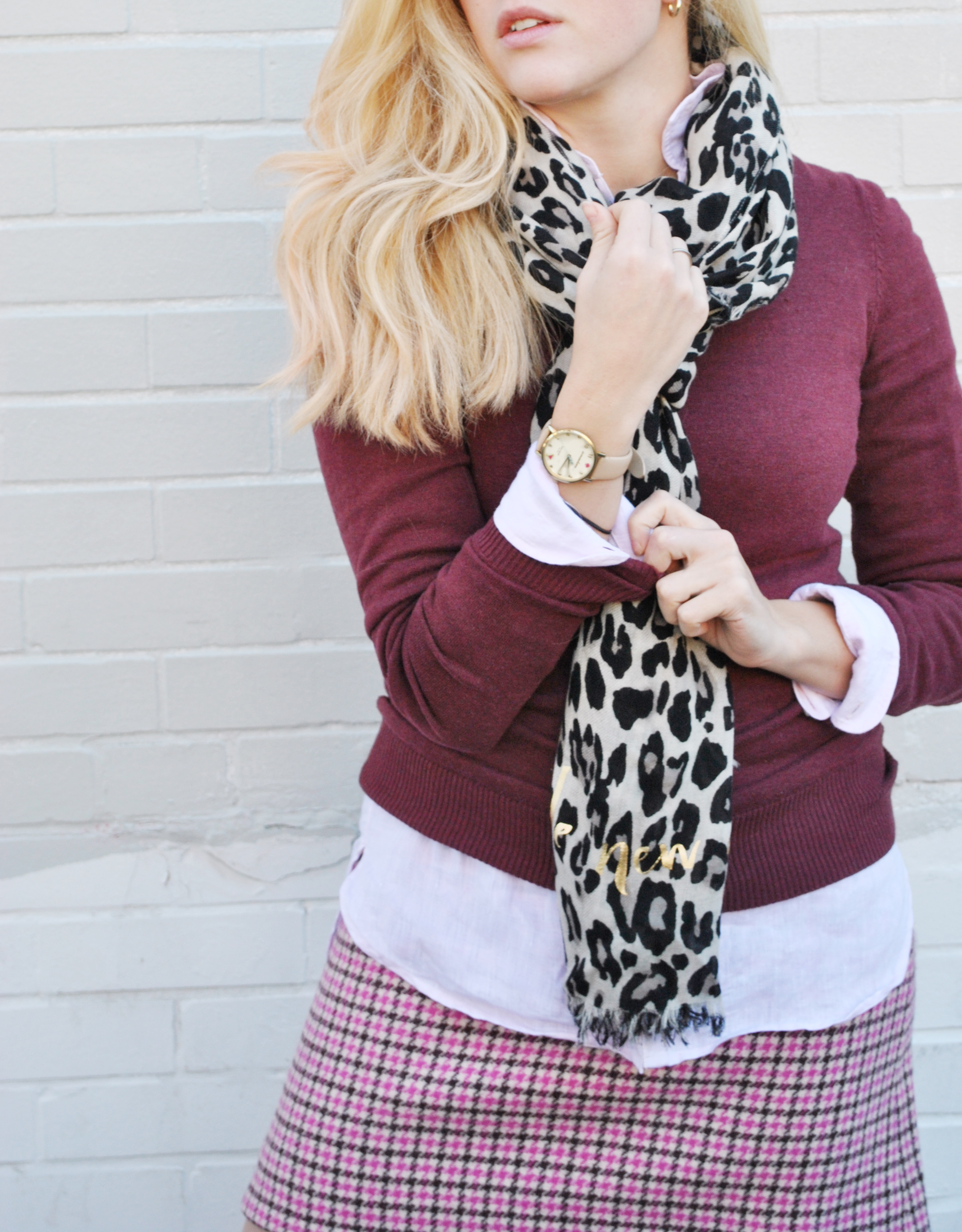 thoughtfulwish | preppy outfit, fall outfit, thanksgiving outfit, houndstooth, pattern mixing, leopard print, fashion blogger, boston fashion, new england fashion, prepster, meredith wish
