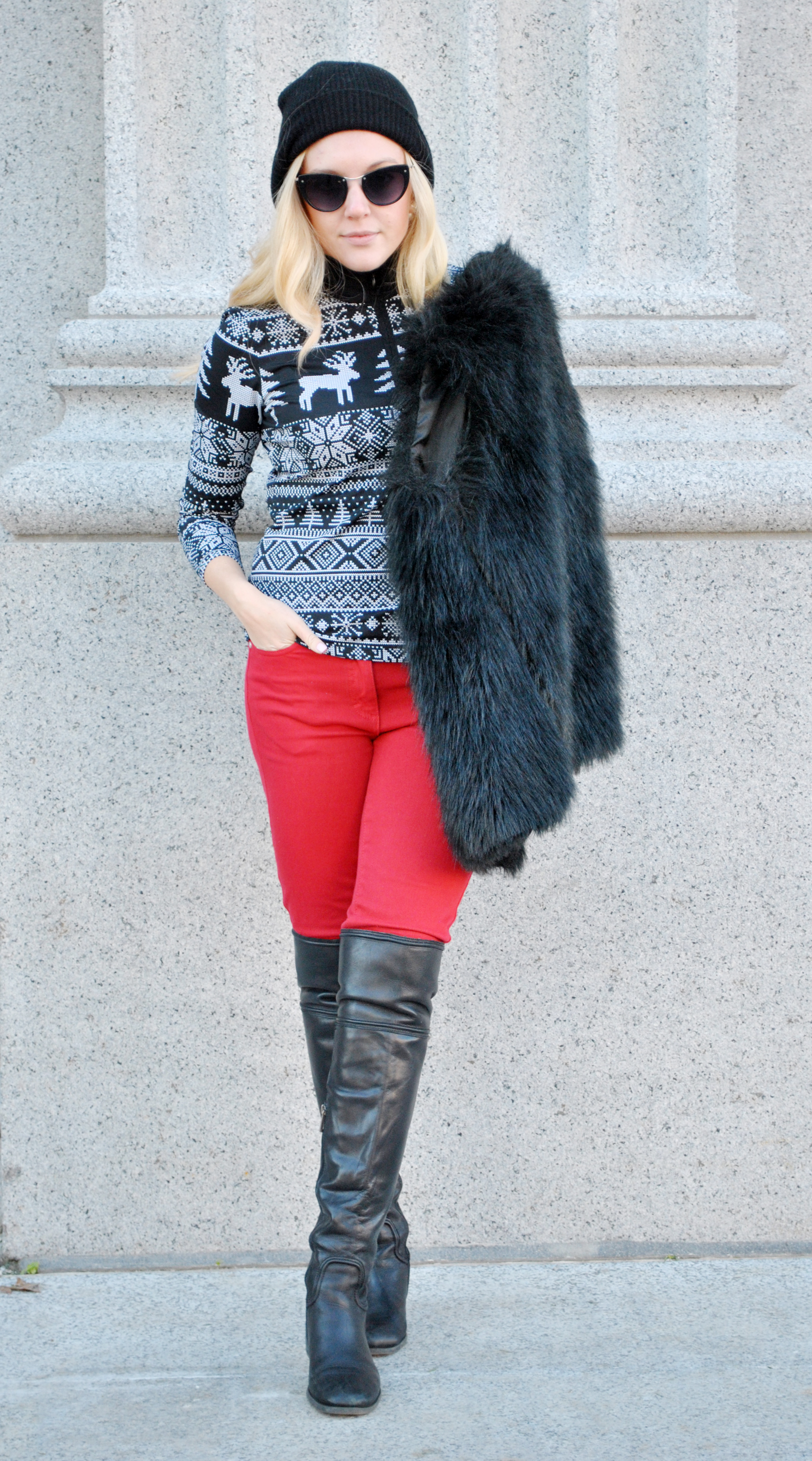 thoughtfulwish | fair isle, j.mclaughlin, faux fur, fur vest, winter fashion, boston fashion, new england fashion