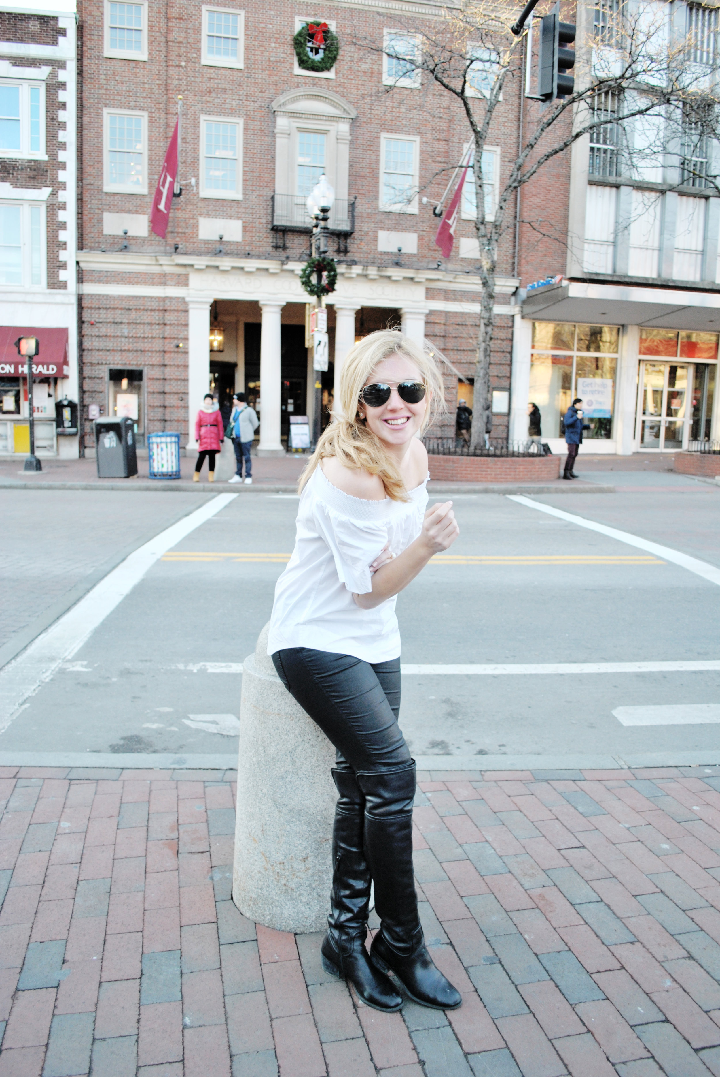thoughtfulwish | jcrew, black and white outfit, harvard square, cambridge, boston, leather leggings, over the knee boots, fashion blogger, fblog, meredith wish