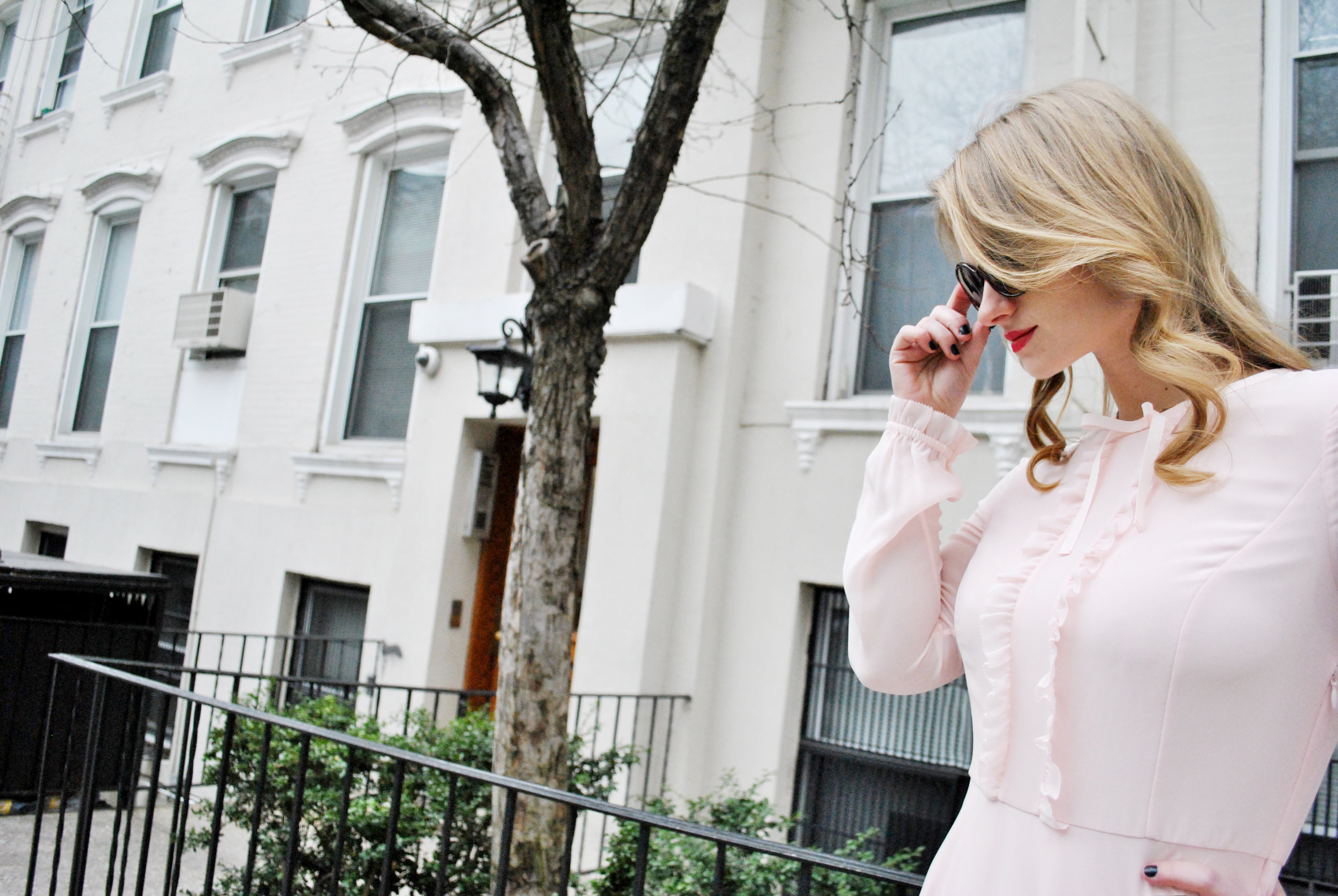 thoughtfulwish | nyc, nyc fashion, street style, upper east side fashion, ted baker, valentine's dress, pink dress, blush pink dress, fashion blog, fblogger, fblog
