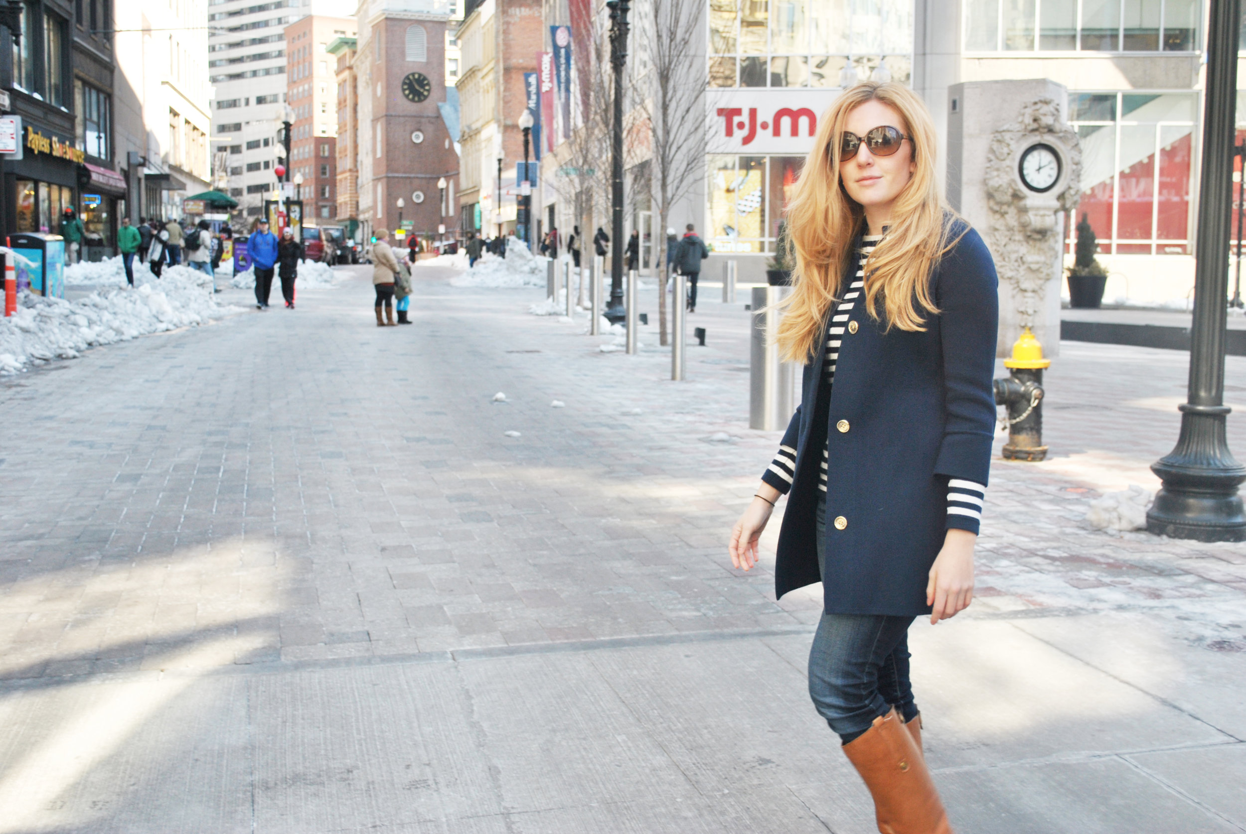 thoughtfulwish | preppy, boston prep, bosfashion, bosblogger, stripes, cardigan, j.mclaughlin, downtown crossing, dtx, navy outfit, spring outfit