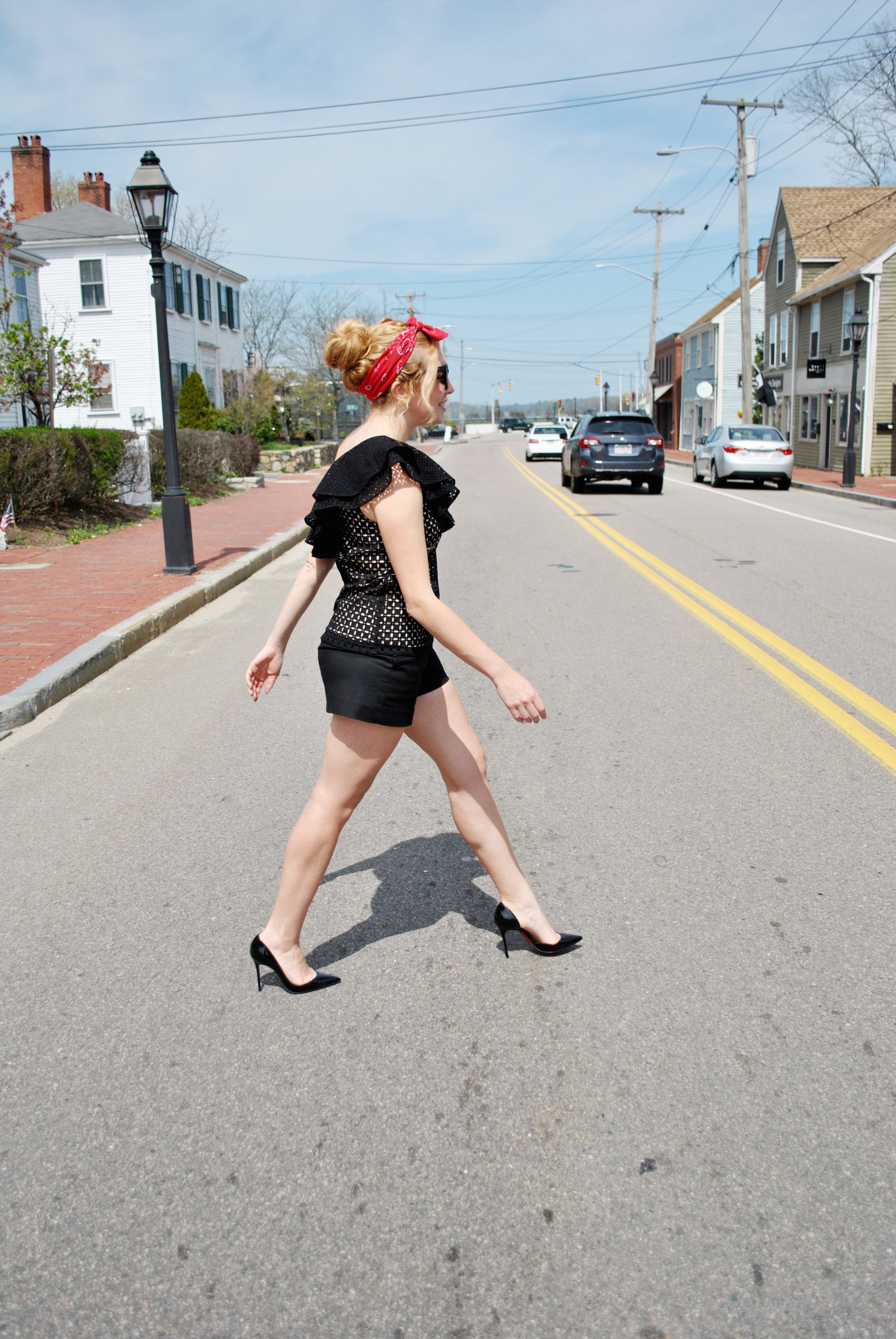 thoughtfulwish | black summer outfit, ruffles, j.crew, nordstrom, bandana, louboutin, summer look, shorts, quay, meredith wish