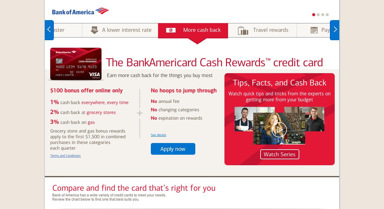 Cash Back Card Landing page