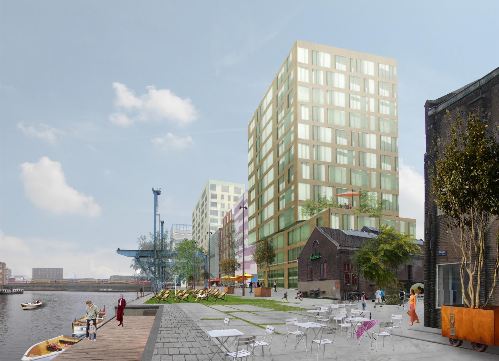De voorgestelde hoogbouw aan de VOC-kade, Wittenburgervaart