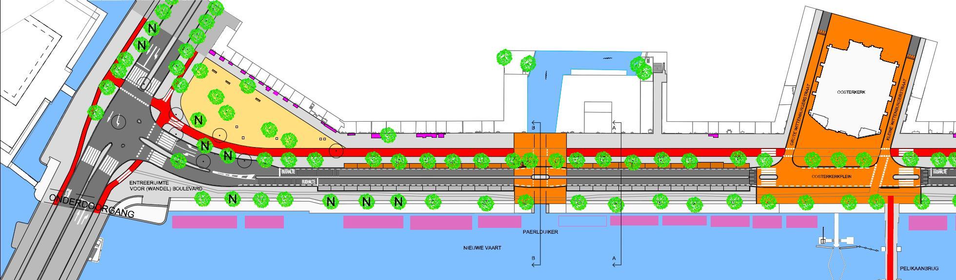 Variant 2 (stadsdeel) borduurt voort op het Masterplan: de kruising Kattenburgerplein wordt verlegd richting huizen, opheffing ventweg, tweerichting fietspad aan de huizenkant, opheffing fietspad aan de waterkant, geen stoplichten en opstelvakken meer bij de Oosterkerk, rammelstroken 1 m breed tussen de rijstroken en 0,50 m langs de parkeerplaatsen. Informeel fietspad 1 m. breed slingert over het voetpad aan de waterzijde.