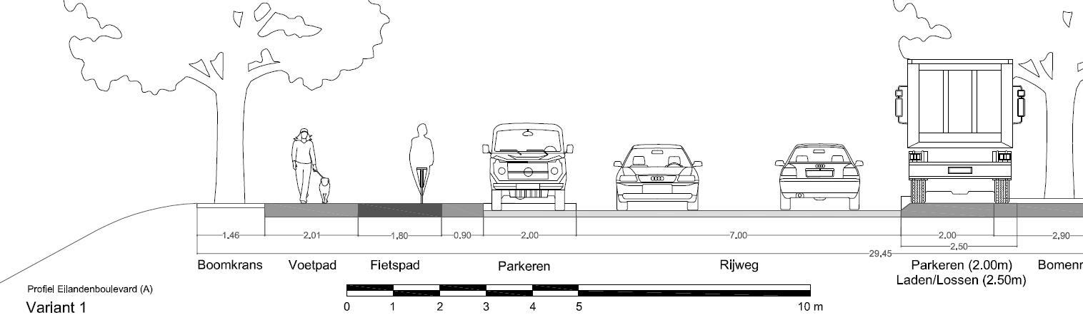 Dwarsprofiel variant 1 (Eilandenoverleg) met fietspad langs het water. Fietspad en voetpad langs de gevel zijn hetzelfde als in variant 2 hierboven.