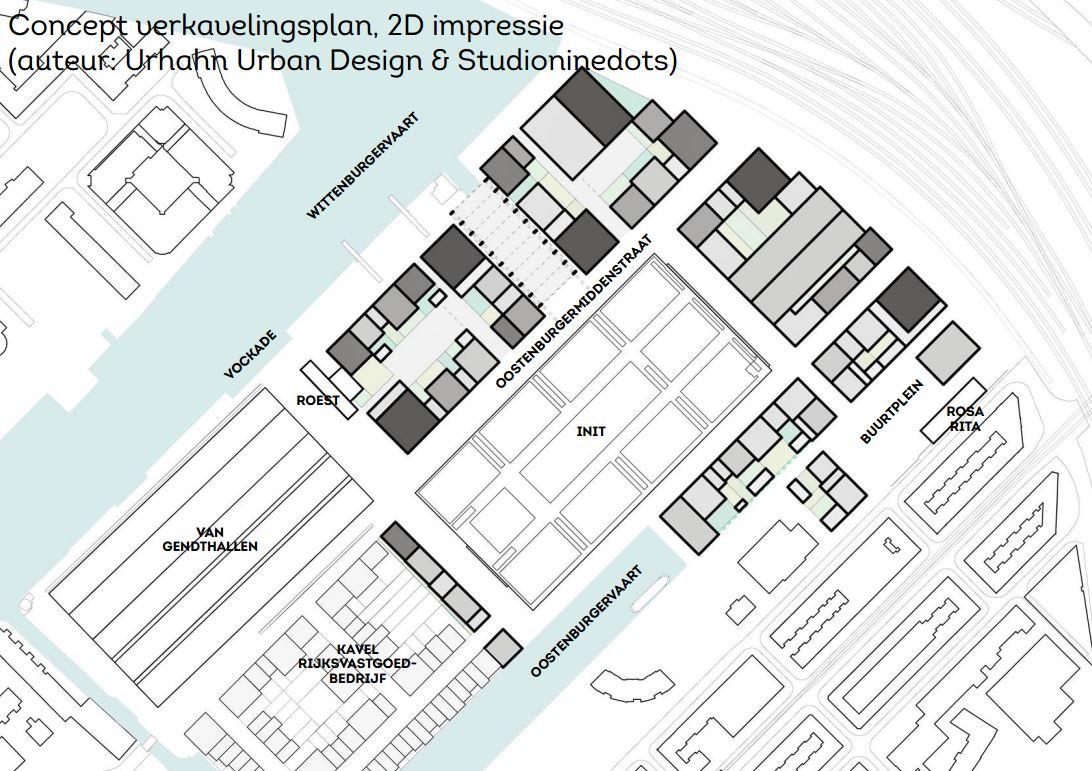 Mogelijke verkaveling op basis van ontwerp-bestemmingsplan Stadswerf Oostenburg, versie maart 2016. Tusssen de blokken aan de VOC-kade ligt de te te behouden Werkspoorhal, die openbaar toegankelijk moet blijven. De Buurtwerkgroep dringt aan op openbare oevers langs Oostenburgervaart en Oostenburgerdwarsvaart.