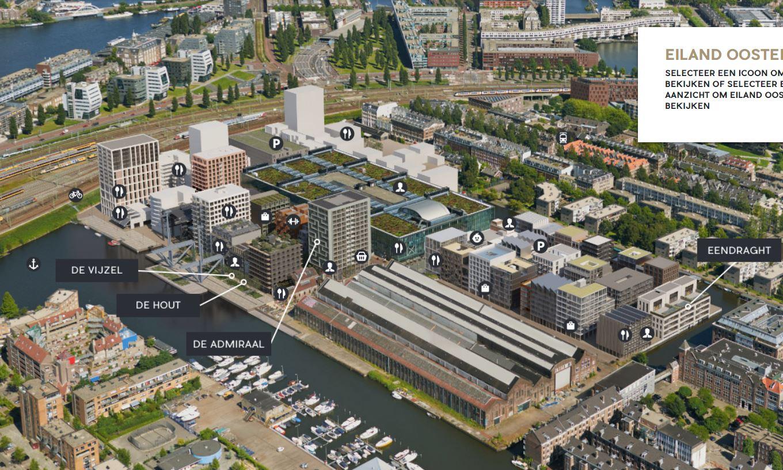 Stand van zaken planvorming Oostenburg-Noord medio 2019. De benoemde projecten van VORM zijn in de verkoop.