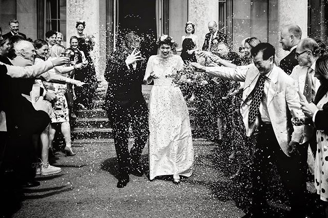 You can never  have too much #confetti in #cheltenham #fujifilm #fuji_xseries #blackandwhite #britishwedding #weddingphotography #xpro2