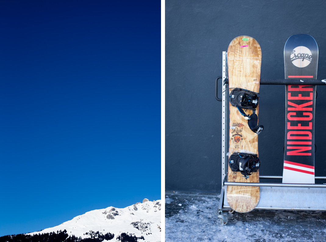 snowboards at the ski resort