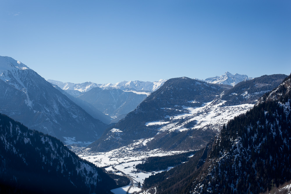 Snowy winter valley in Verbier, Switzerland