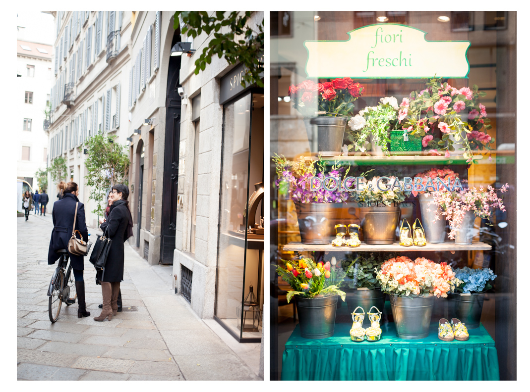 street scene and flower shop, Milan, Italy