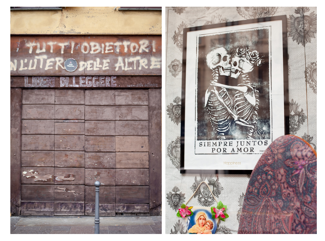 street scene and window displays in Italy