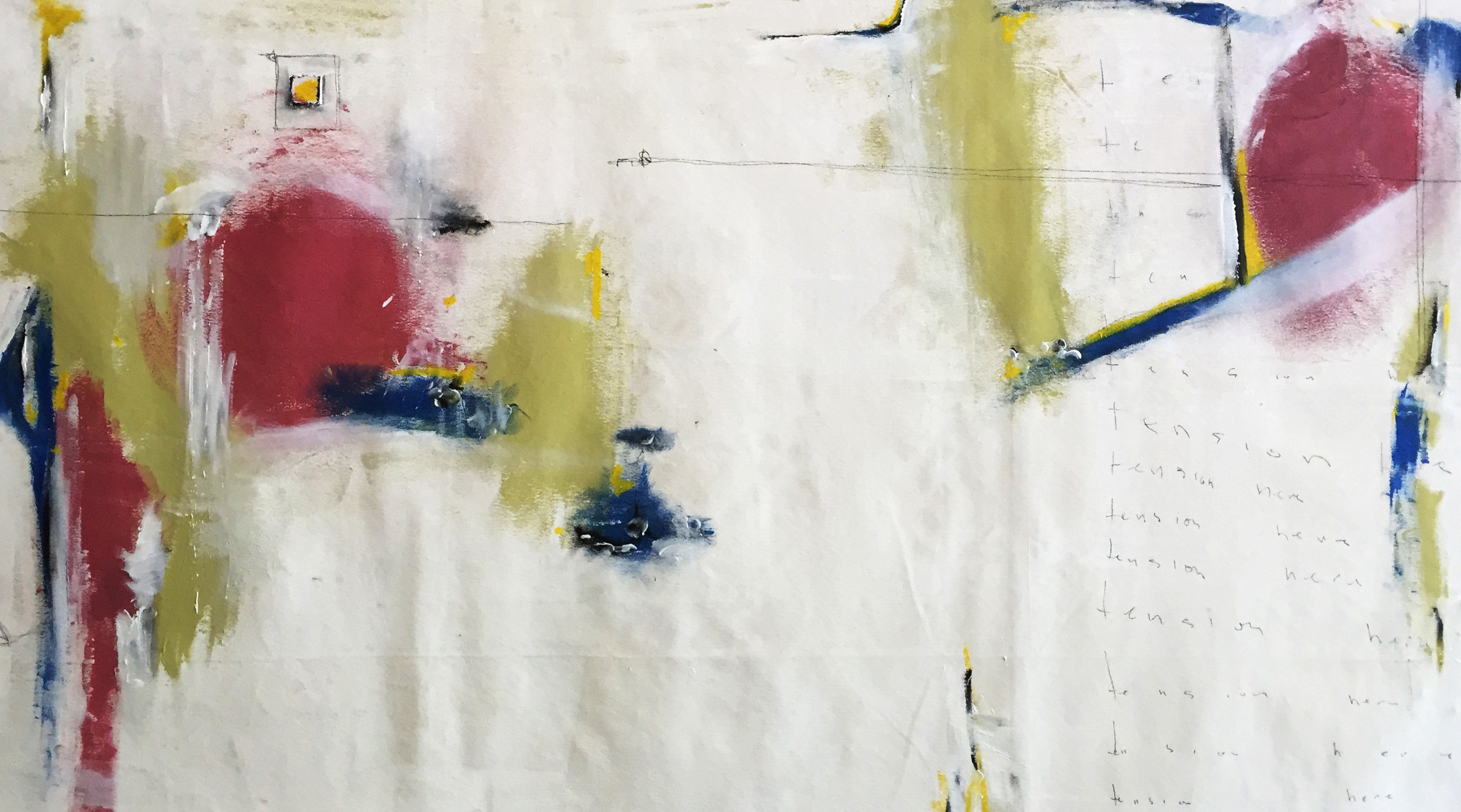 """Tension Here: 60""""x34"""" Acrylic and Graphite on Canvas $2125.00"""