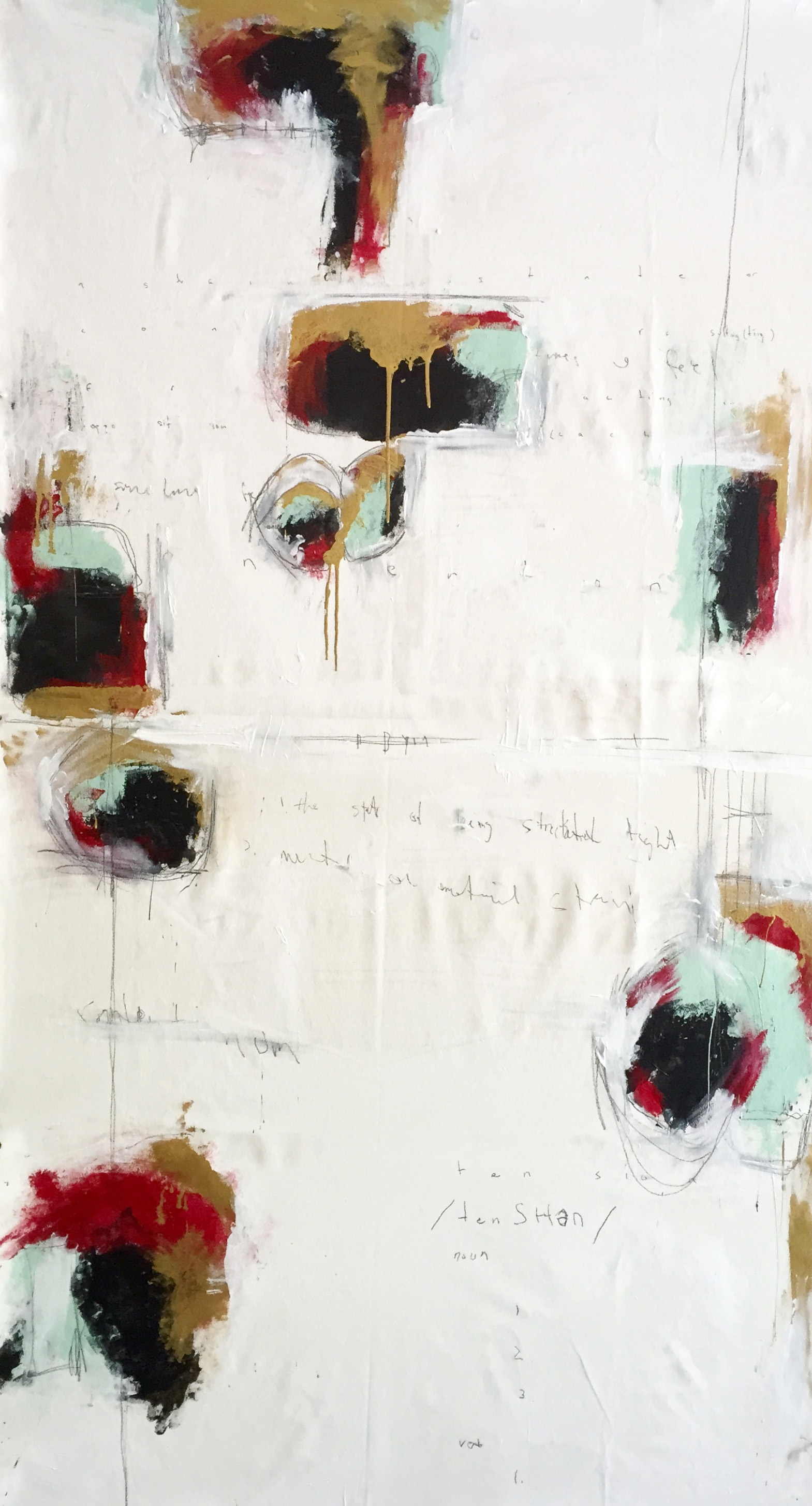 """/tenSHen/: 76""""x40"""" Acrylic and Graphite on Canvas $3150.00"""