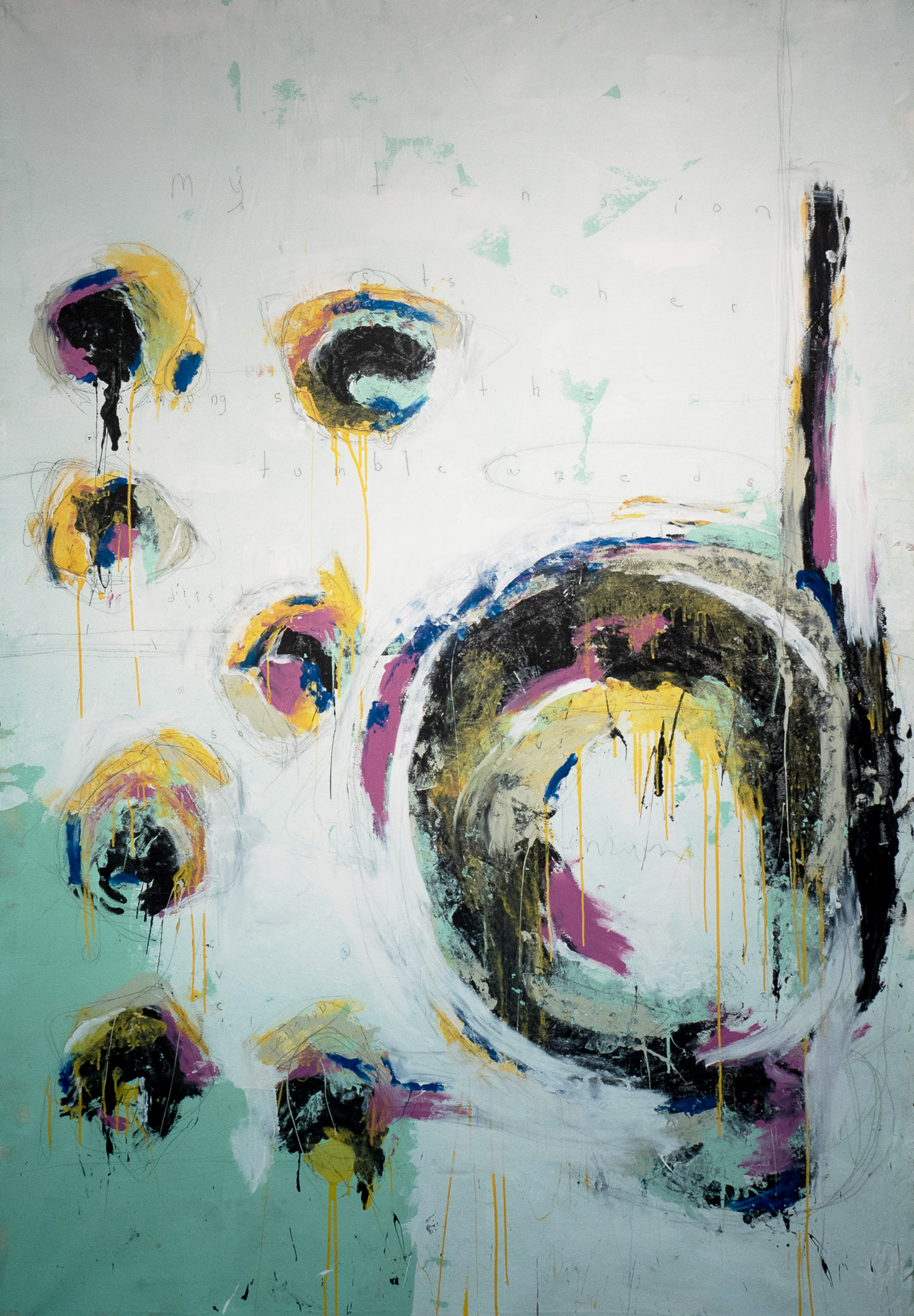 "Tumbleweeds: 62""x94""  Acrylic and Graphite on Canvas$6000"