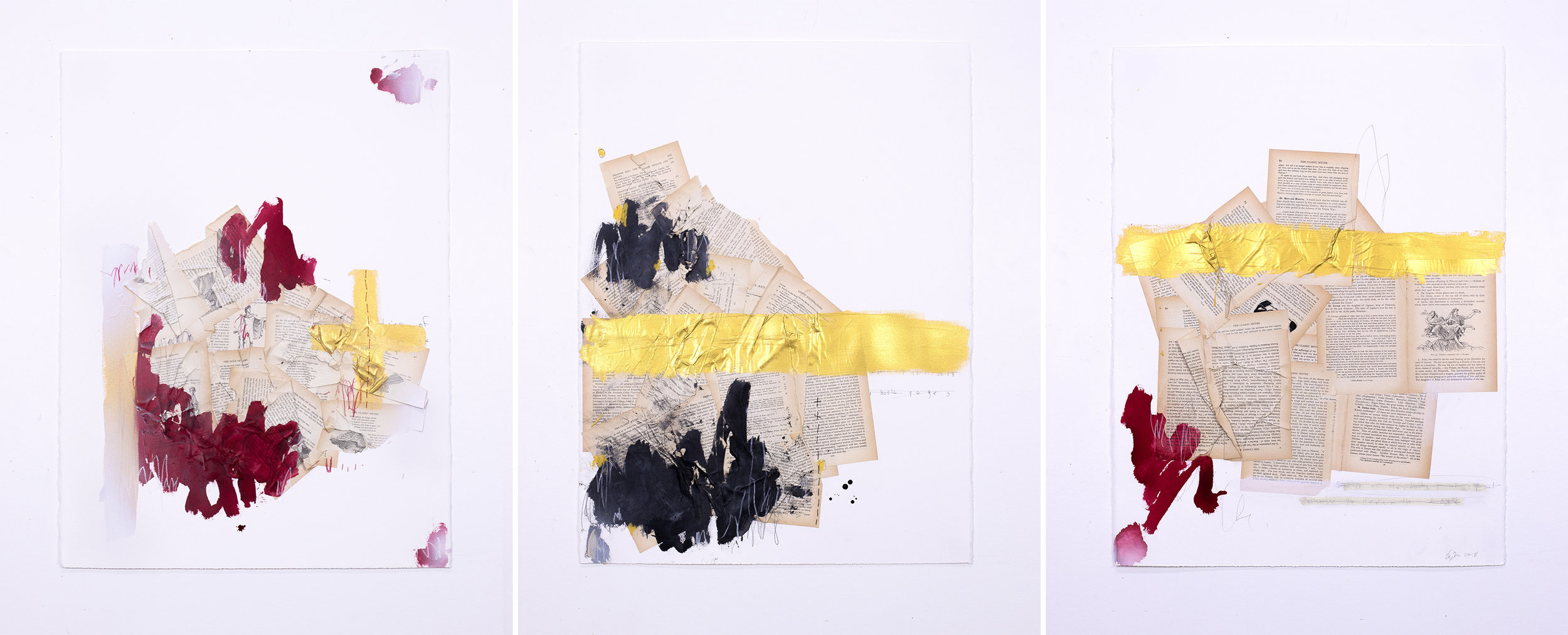 Recent studies on paper using vintage book pages with acrylic and graphite on paper.