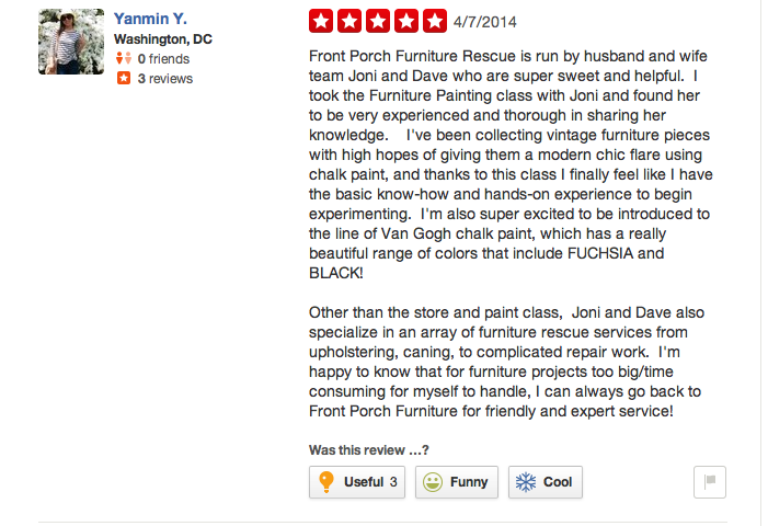 A great review for Joni on Yelp.