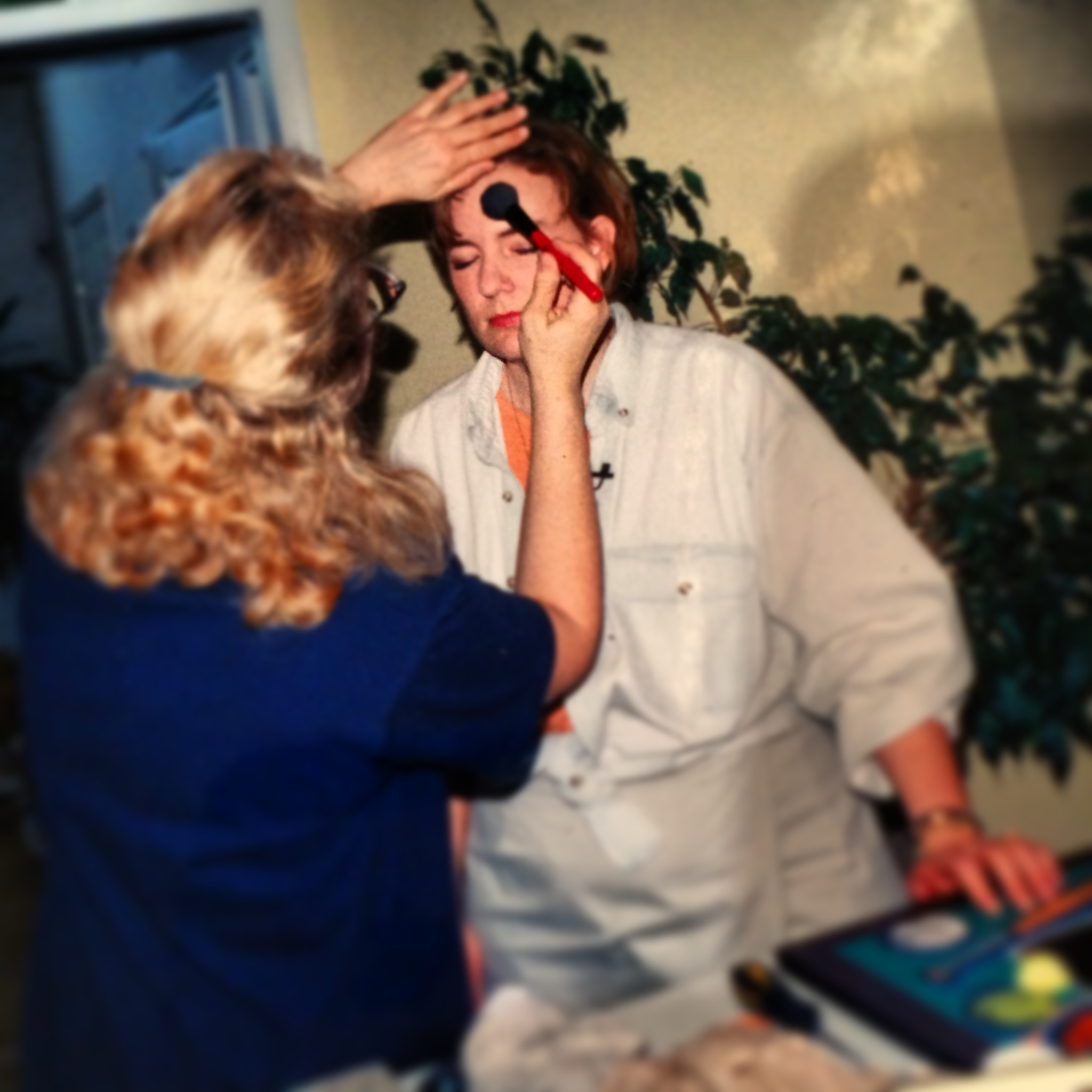 MAKEUP! I have a nose that insists on being a shinning superstar. With HGTV, they were thorough professionals.