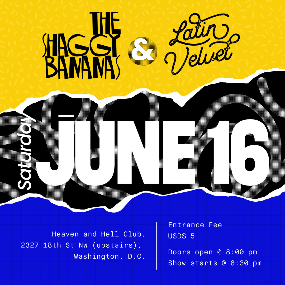 Gig flyer for my friends in DC, The Shaggy Bananas