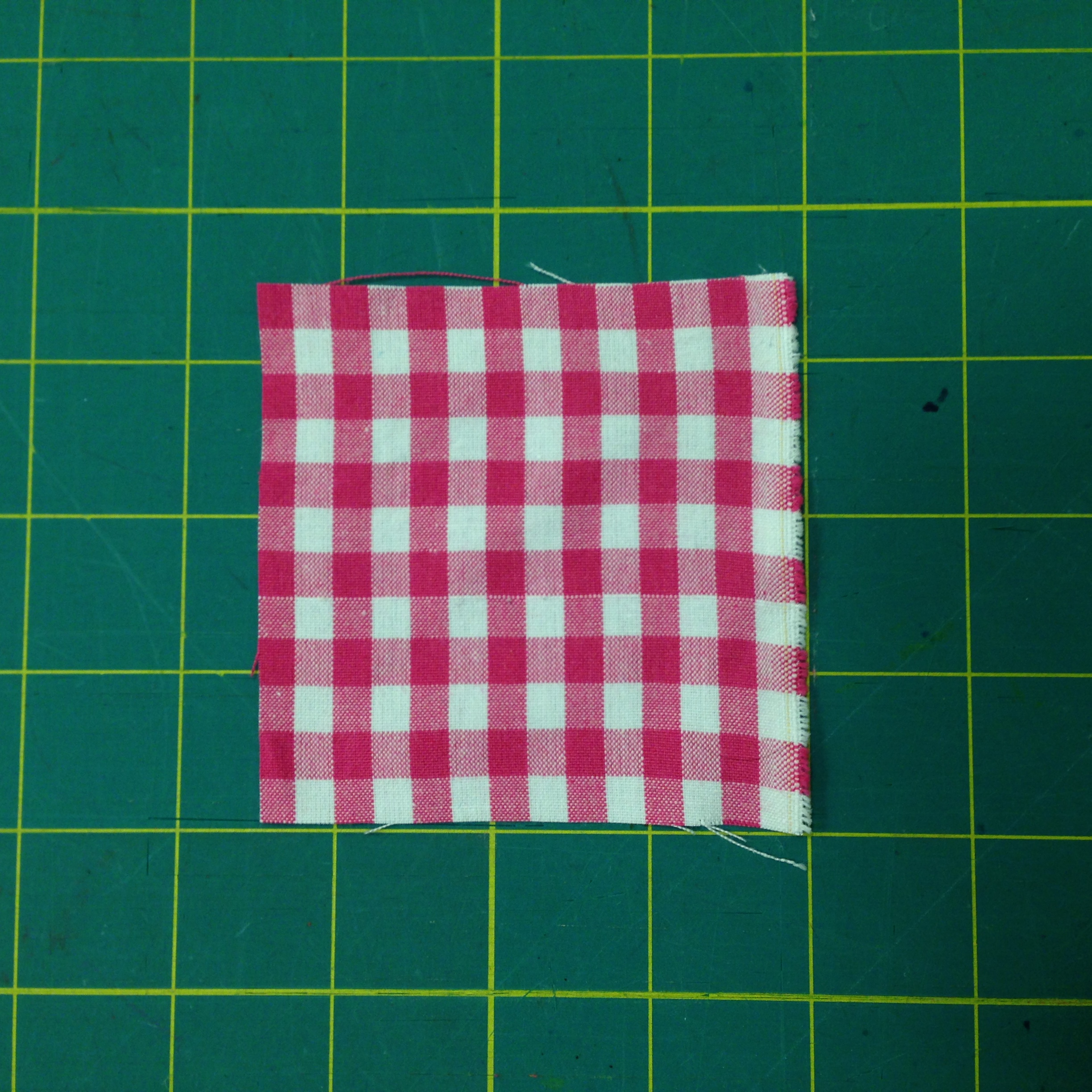 In gingham (a 'yarn dyed' fabric, meaning that the stripes are made from weaving different color yarns, not printed) it is easy to see if the grain is in alignment.