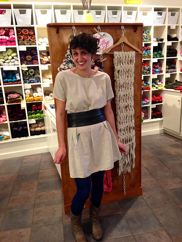 Alexis made her Cabin dress from natural linen and re purposed a vintage dress to create bias binding and pockets!