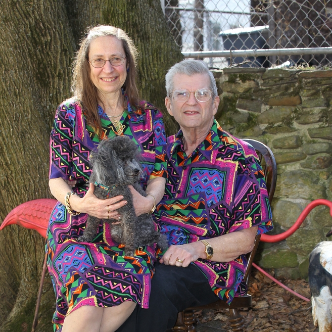 Nancy and David Featherstone have dressed in matching outfits for decades. David Featherstone invented the pink lawn flamingo.
