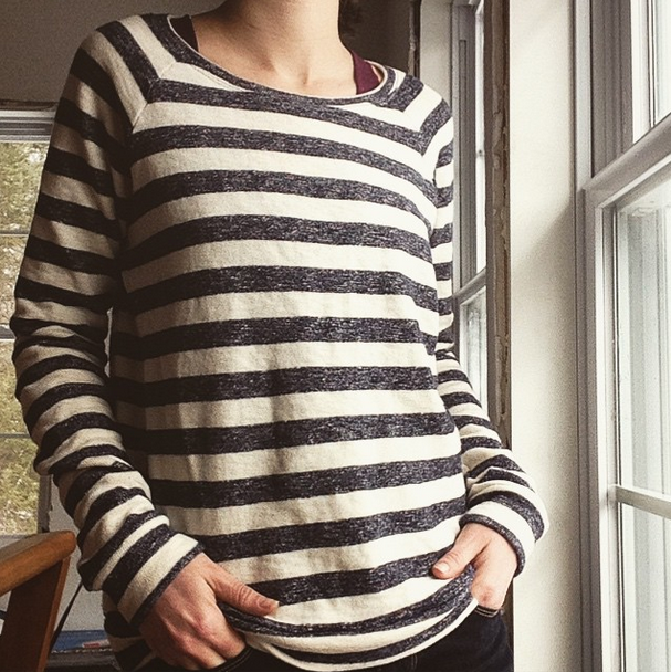 Here's a sample I made up in some french terry, aka the comfiest vintage-feeling sweatshirt material ever. I like the grainline pattern, though in the next one I make for myself, I'm omitting the bottom band in favor of a twin-needle hem, shortening the sleeves, and using a wider neck band.
