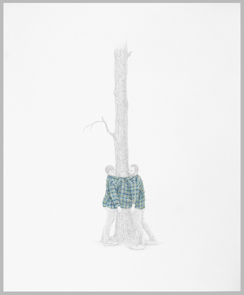 "Andrea Sherrill Evans,  The Tree #2,  silverpoint and watercolor on prepared paper, 28.75"" x 23.25, 2011."
