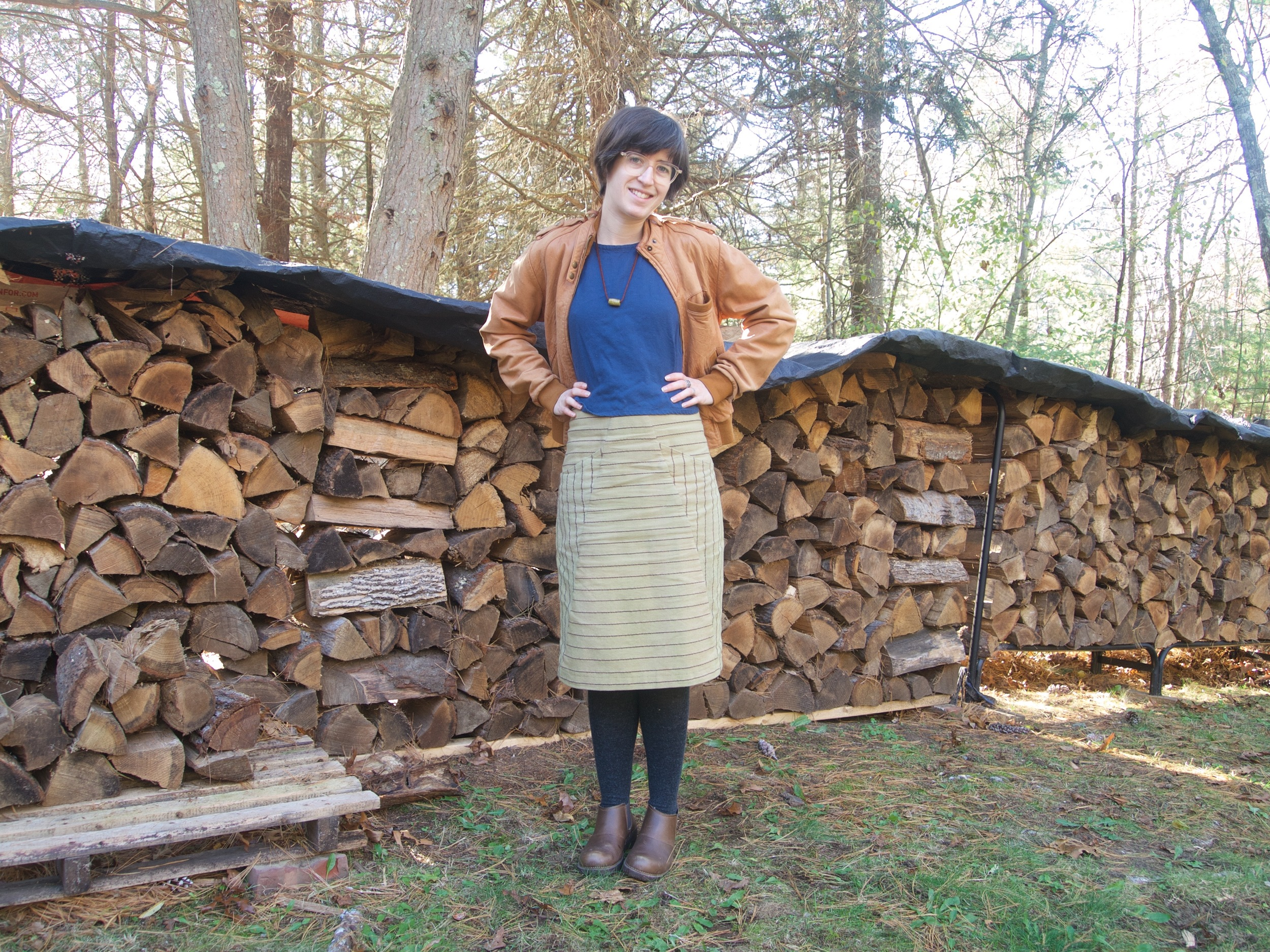 A favorite outfit in 2015! Hand-dyed a-frame skirt, blue wool flannel Cabin, ceramic bead necklace, trusty 10+ yr old leather bomber jacket, tights and boots.