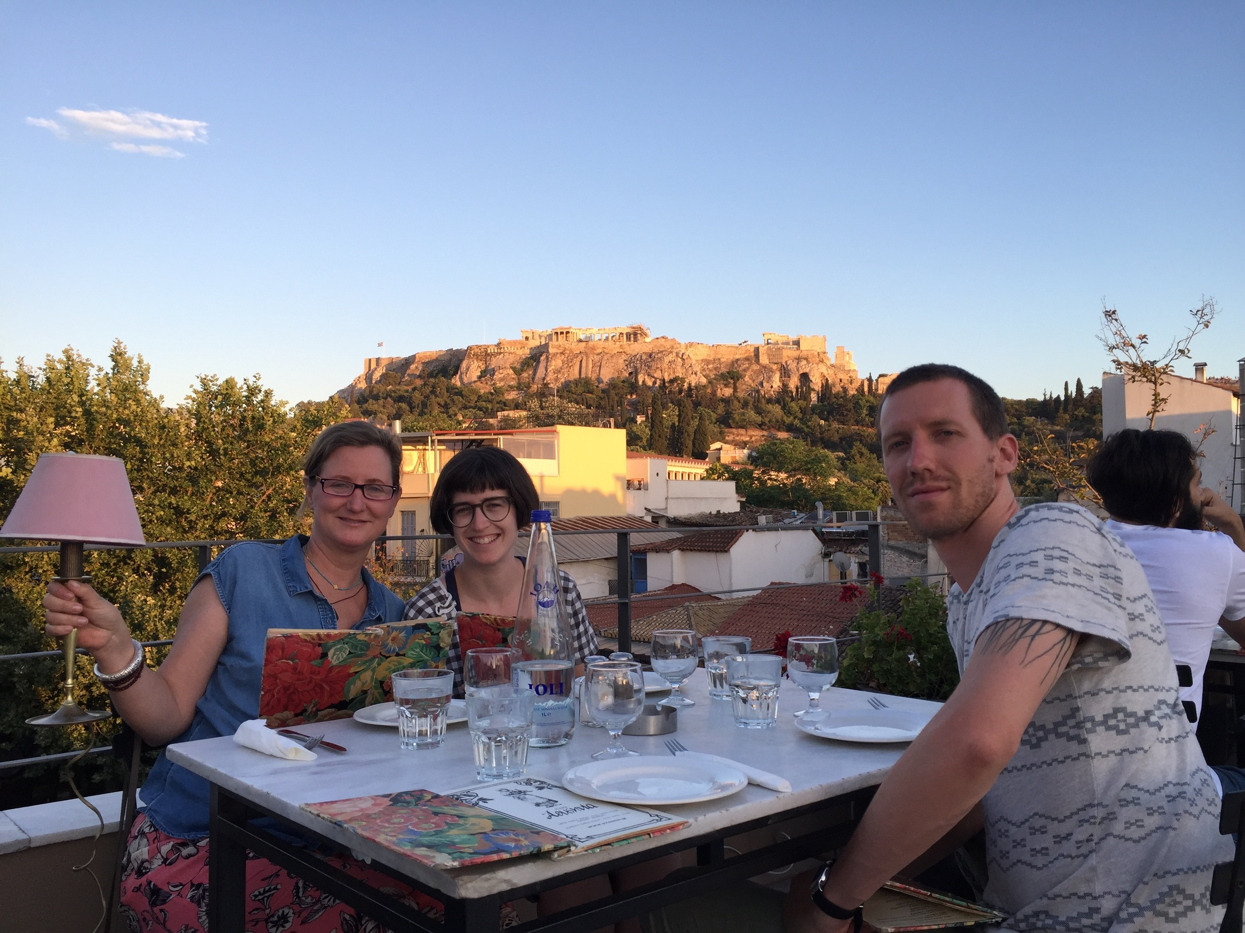 Here we are at a restaurant with a rooftop view of the Acropolis!