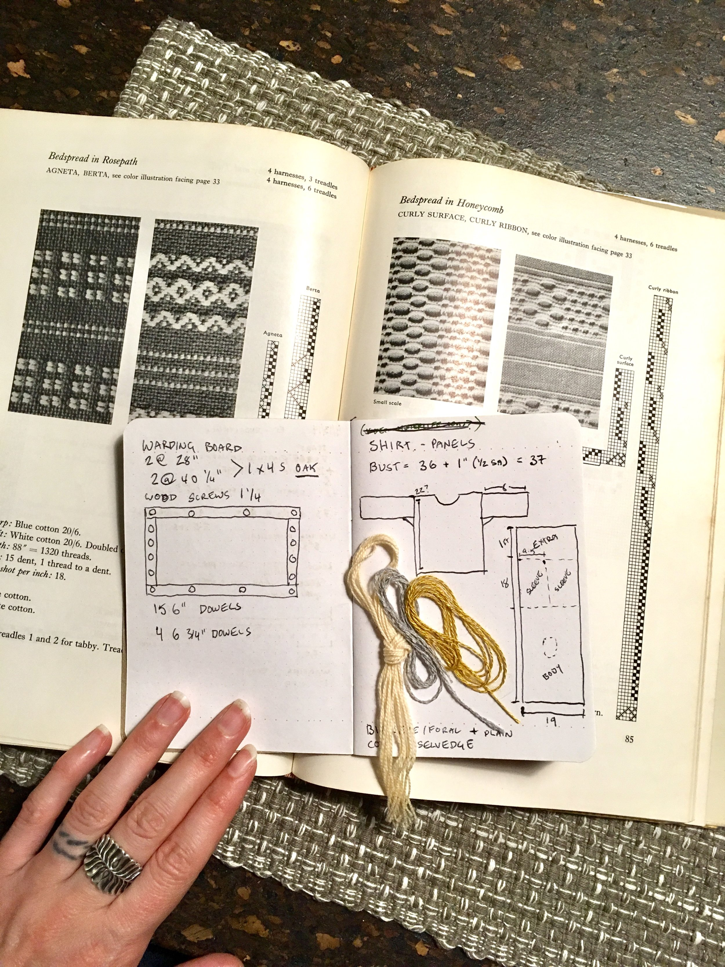 Looking through an old weaving book for pattern/threading ideas.