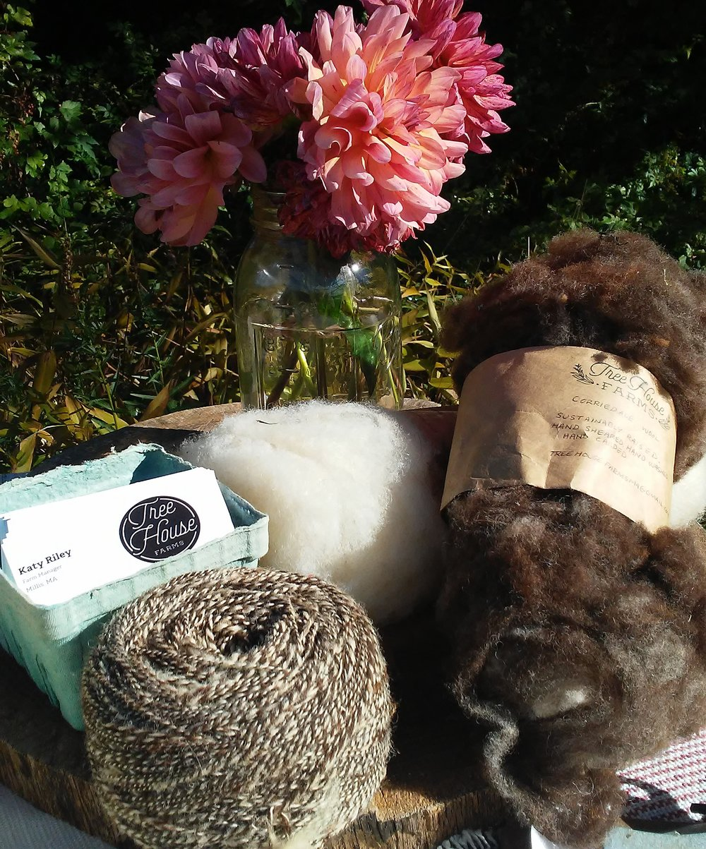 Sample offerings from Katy's Wool and Fiber CSA