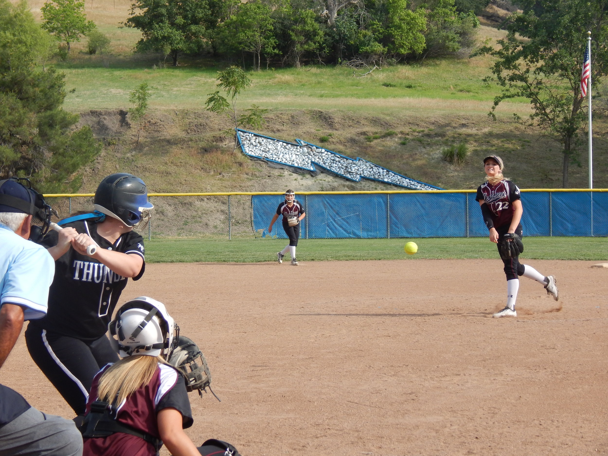 WOODCREEK'S JACY BOLES PITCHING ( JEREMY MCDONALD-65 SPORTS)
