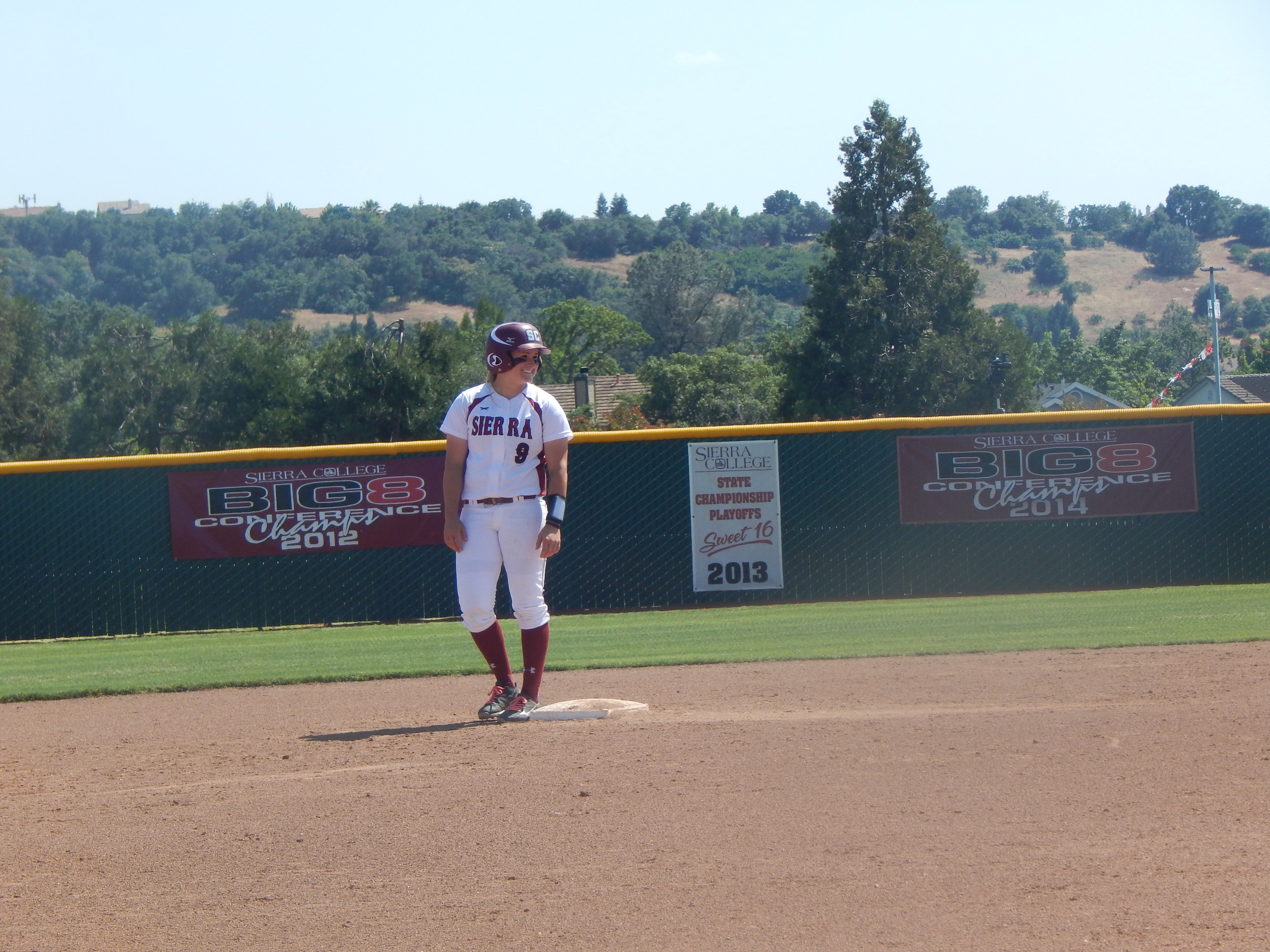 From second, Kasie Trezona looks over to first base.  ( Jeremy McDonald-65 Sports)